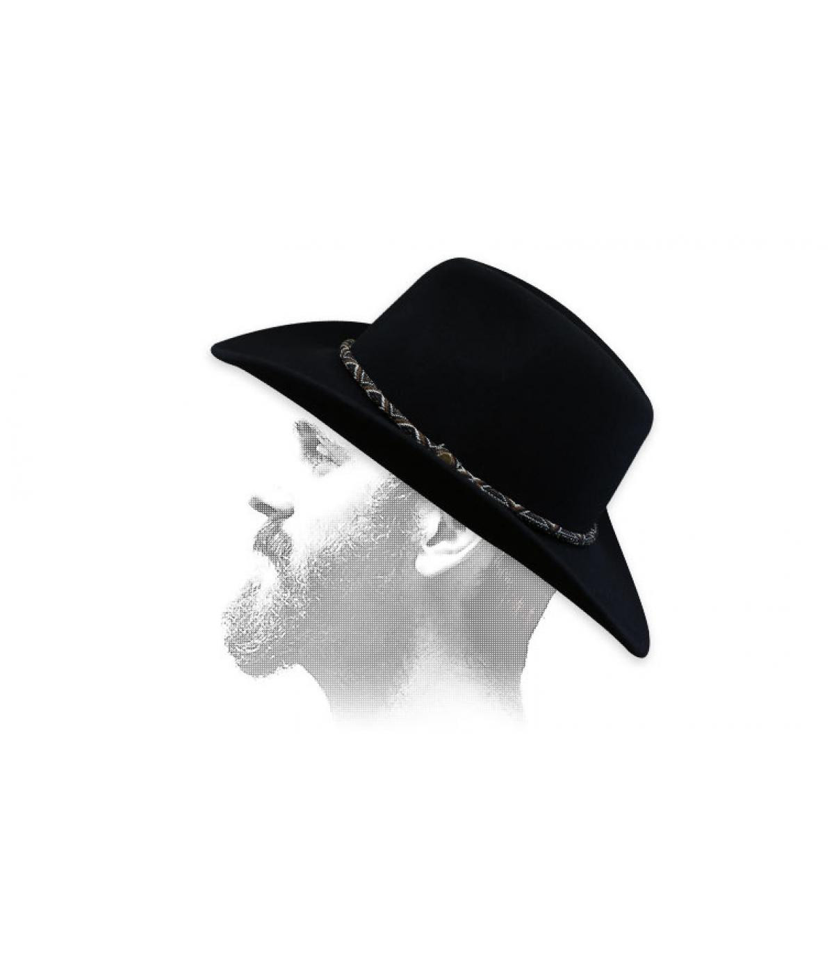 Beige felt cowboy hat