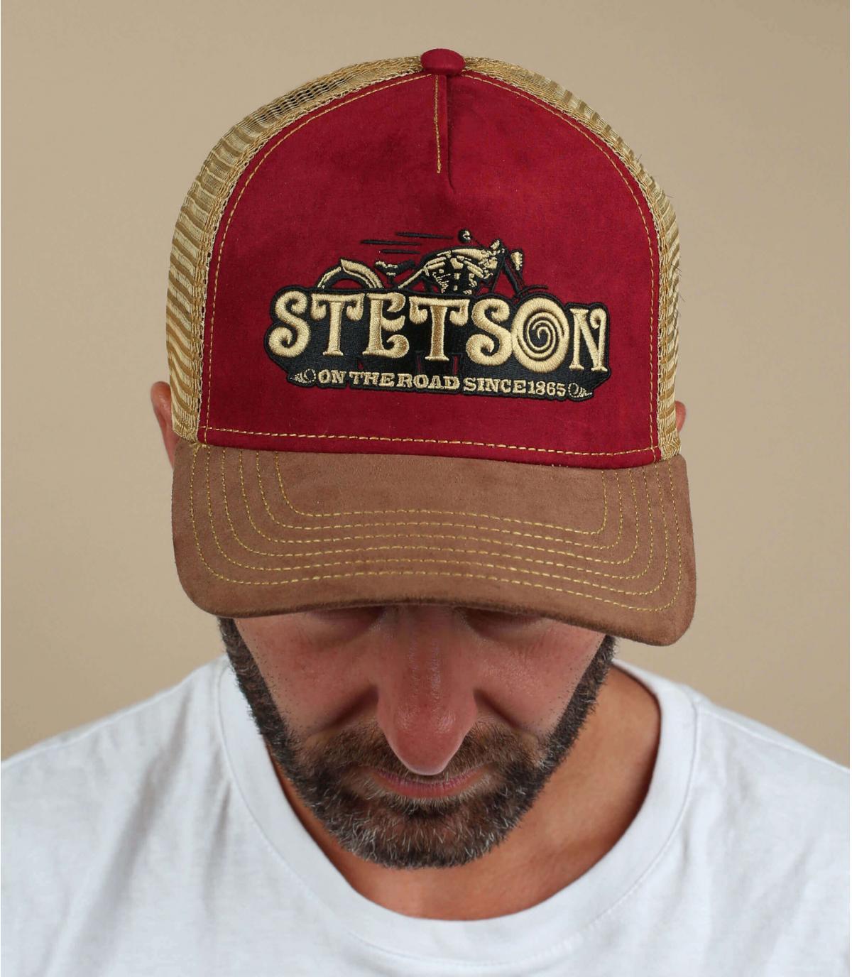 burgundy trucker Stetson moto