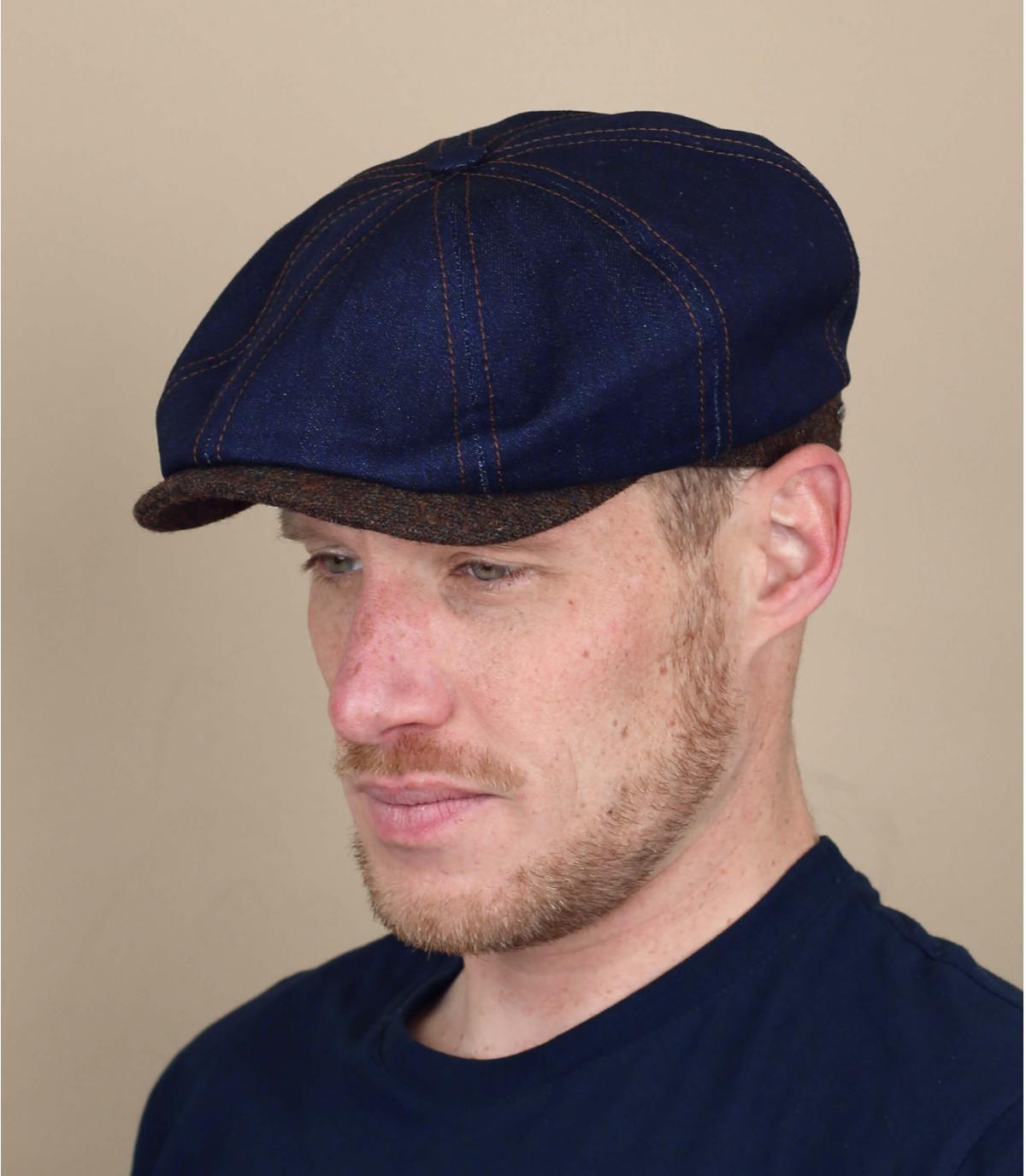 Blue denim newsboy cap