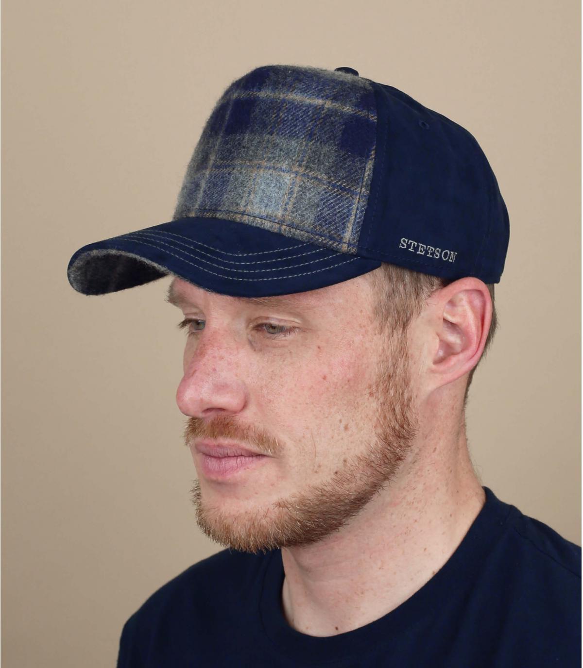 blue wool trucker