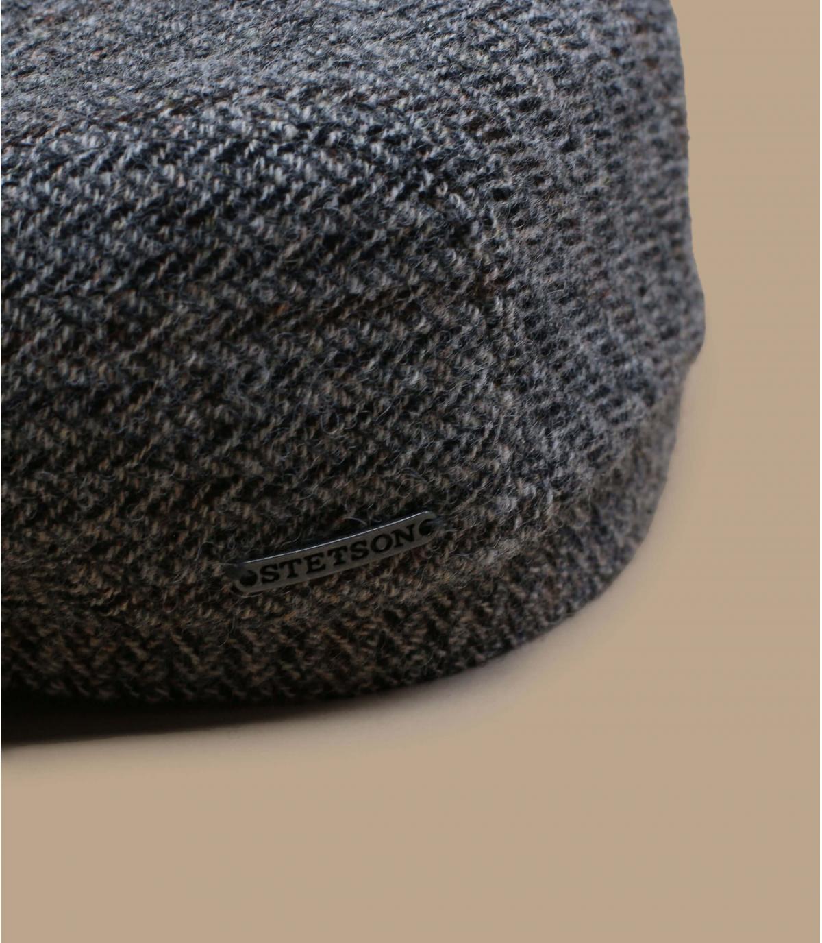 Grey wool flat cap herringbone
