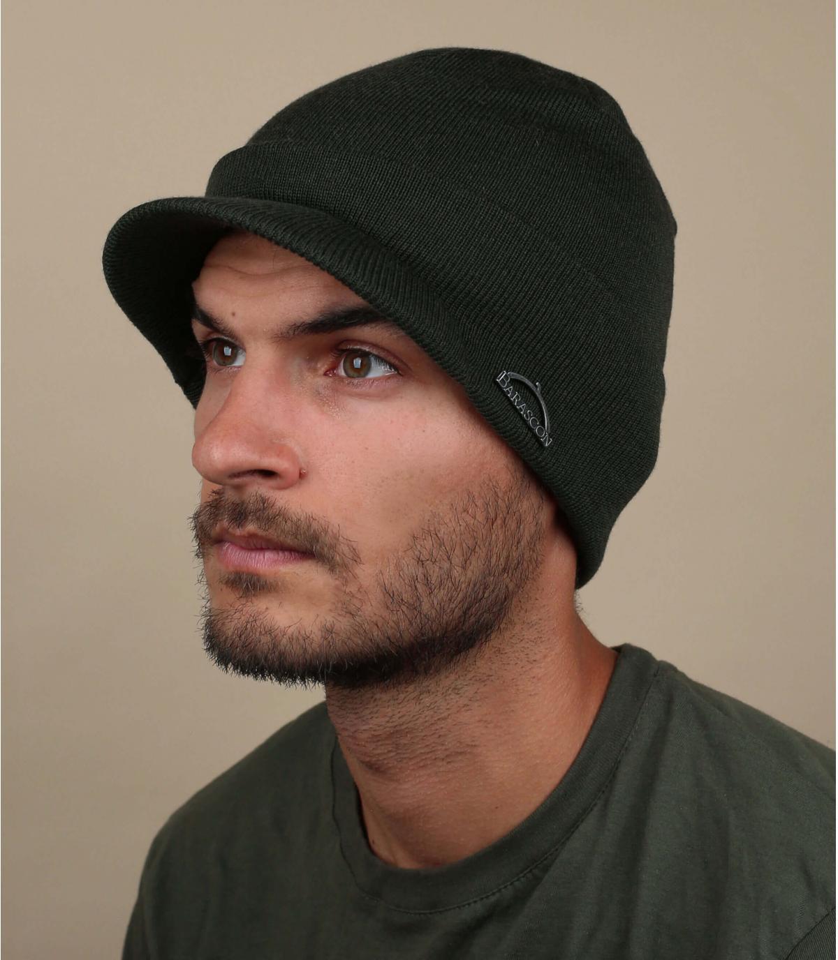 wool visor beanie green