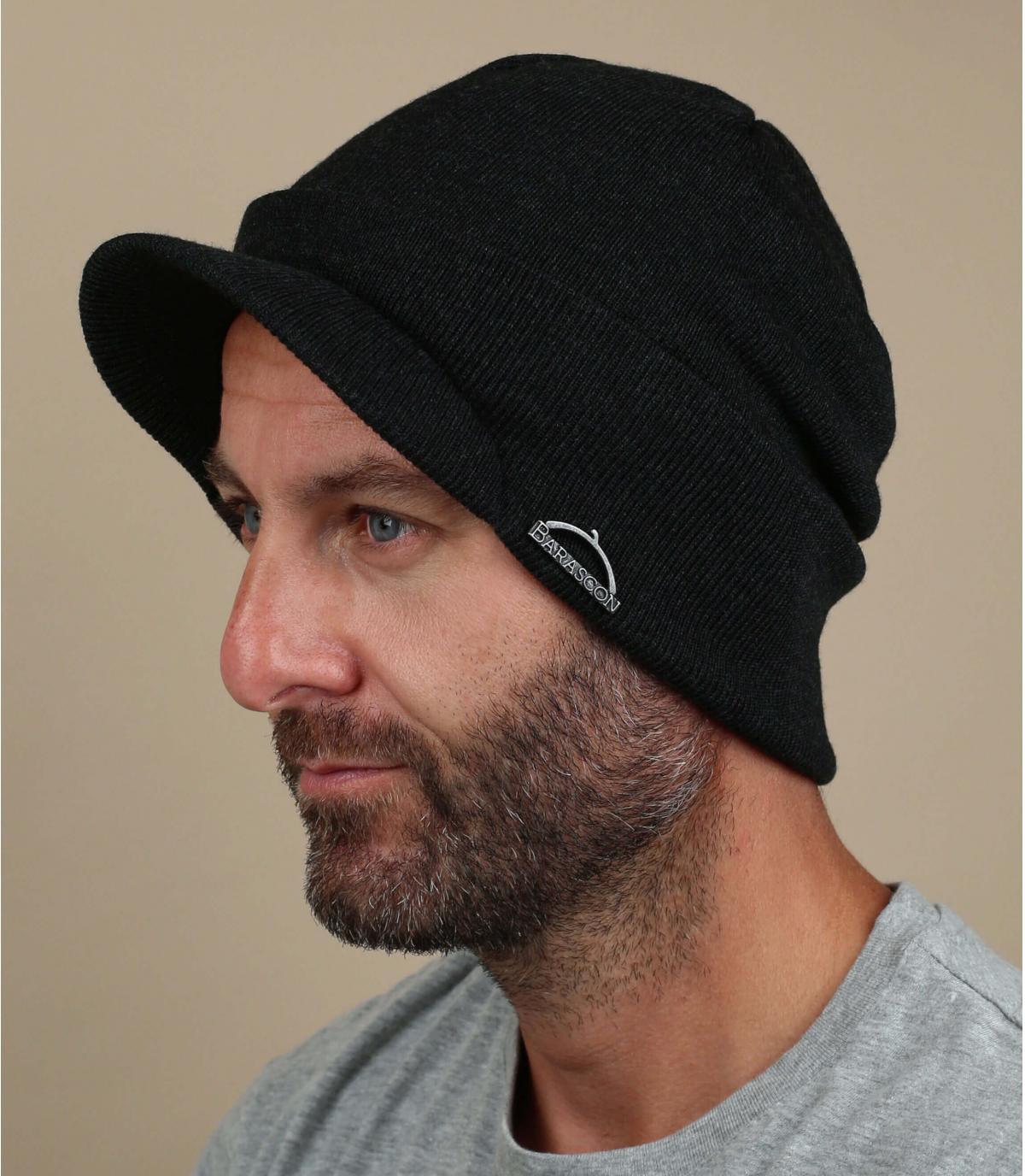 wool visor beanie grey