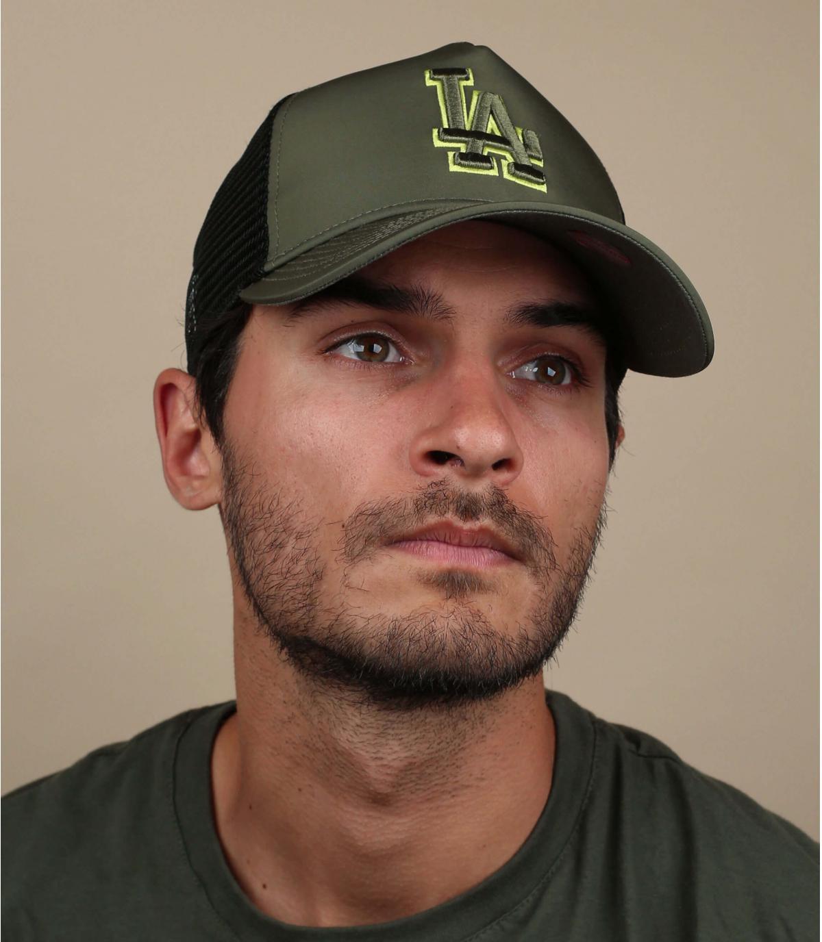 green nylon LA trucker