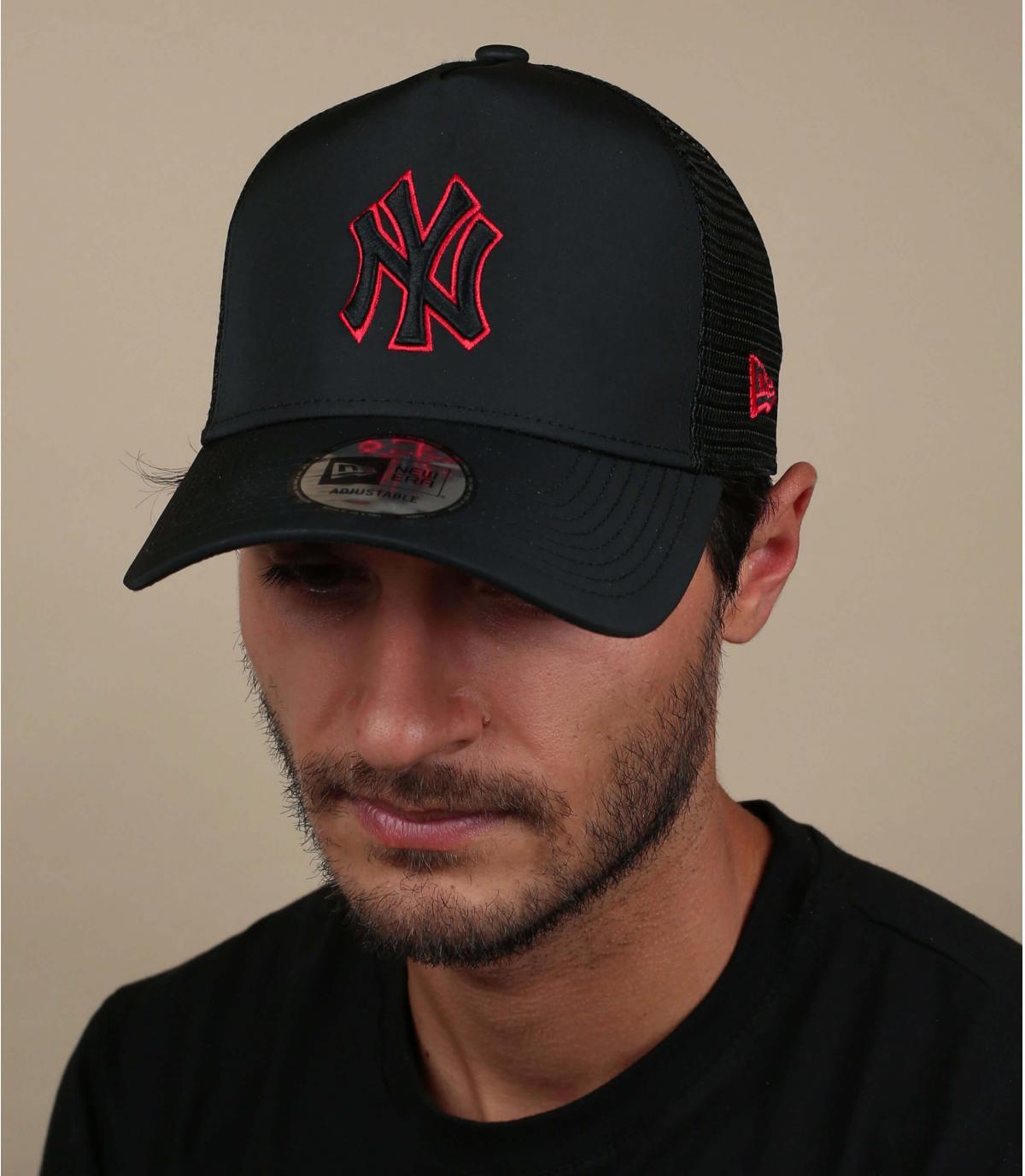 black nylon NY trucker
