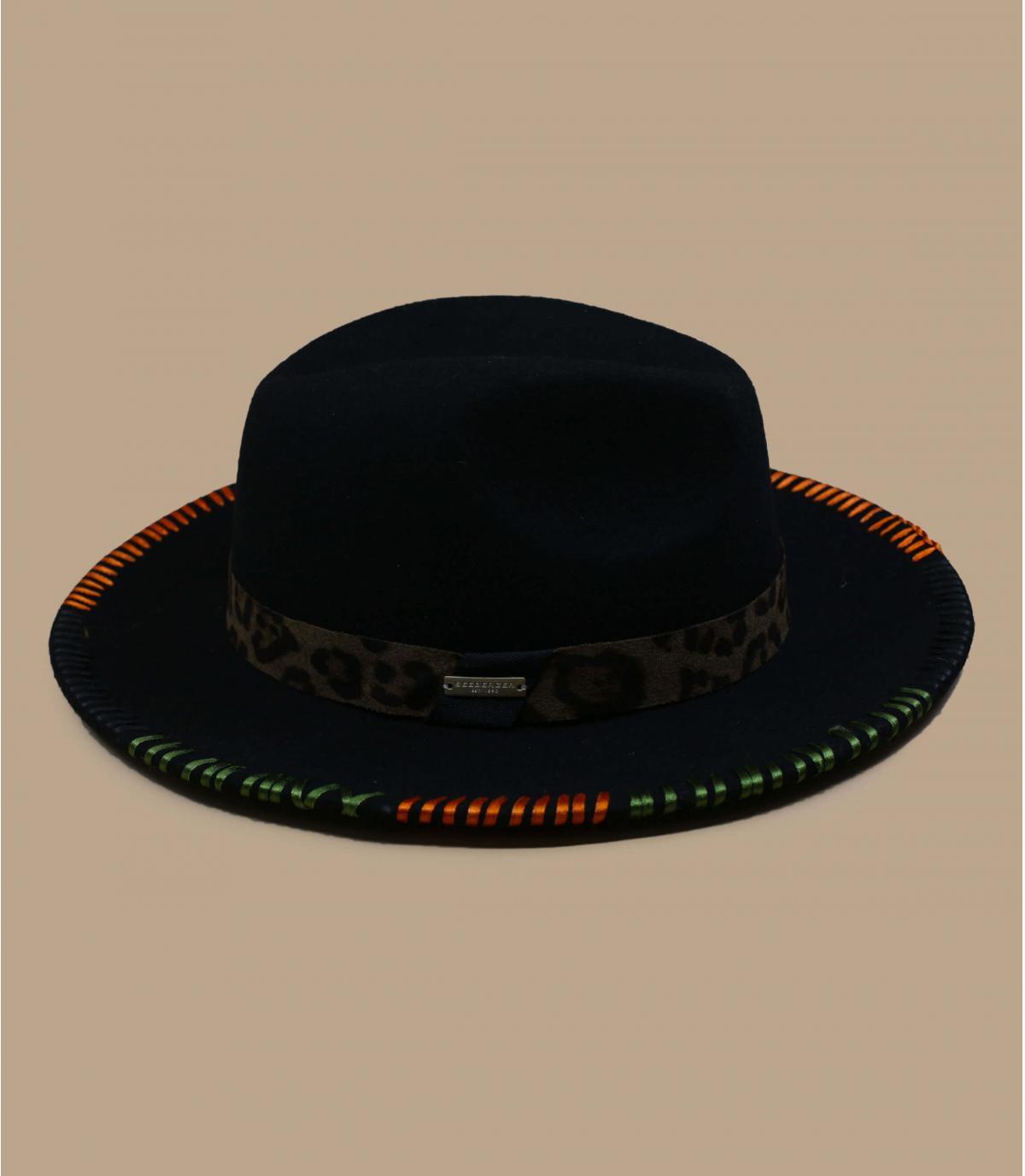 Green felt hat embroidered