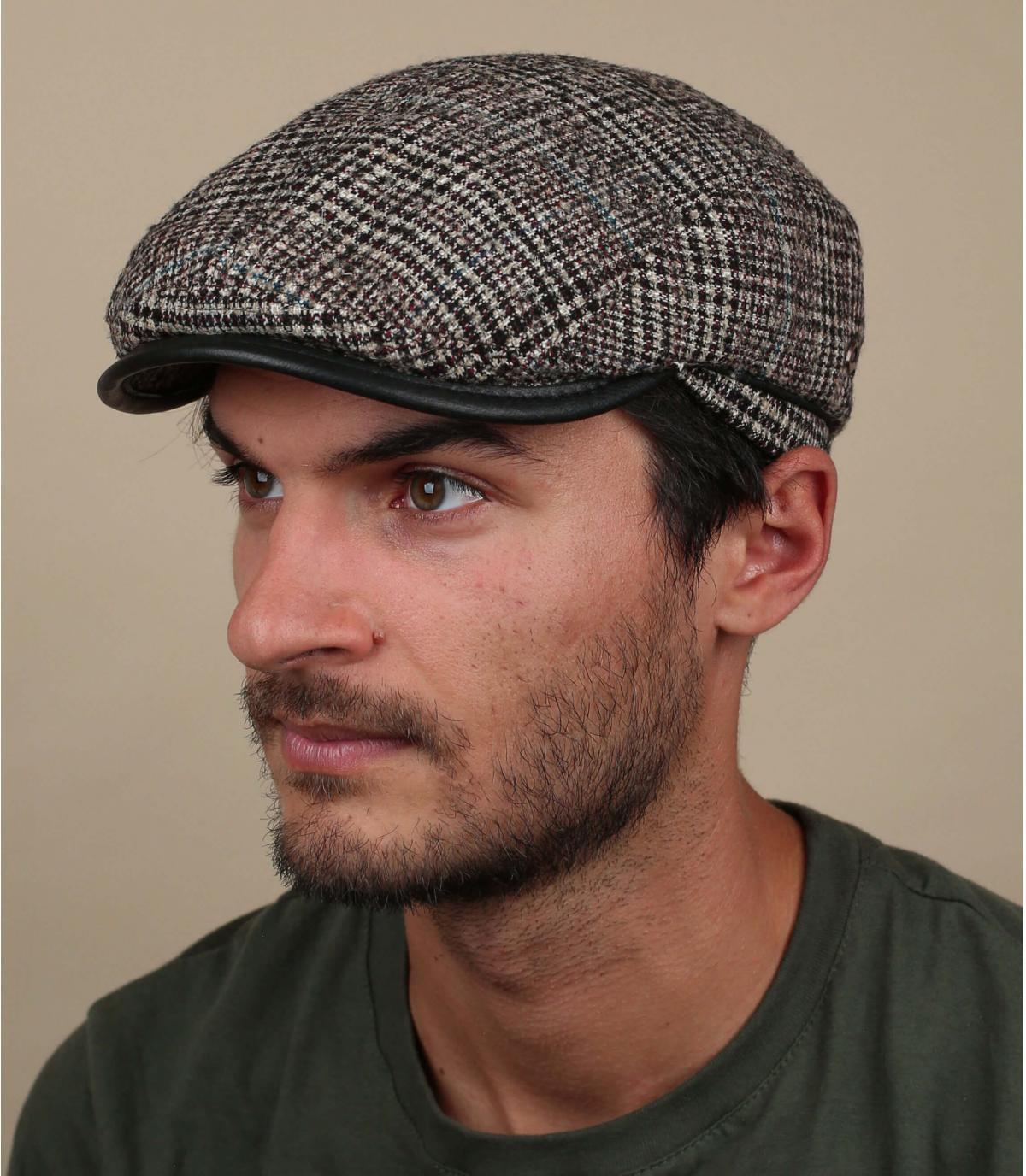Beige checked flat cap wool