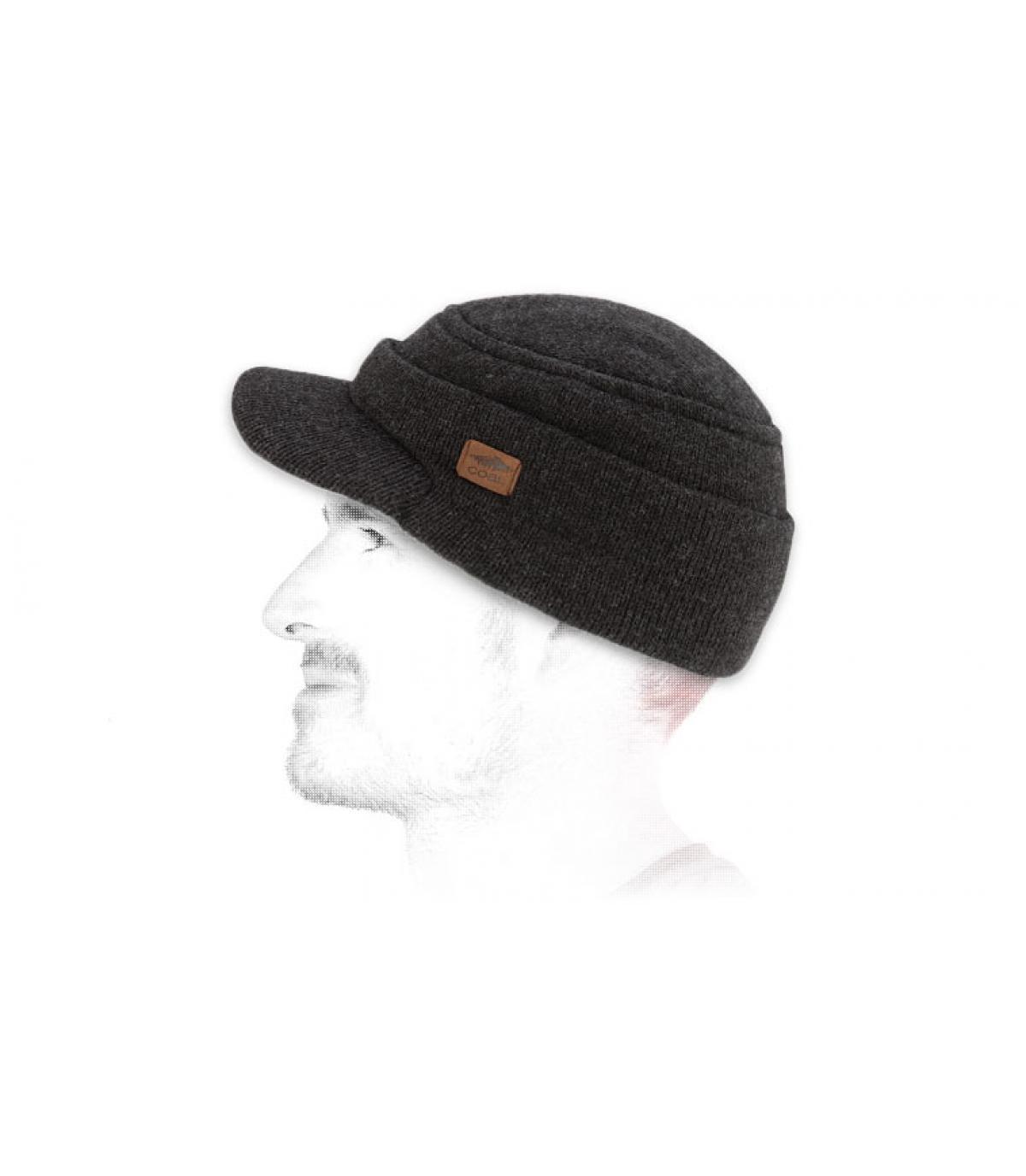 Black visor beanie