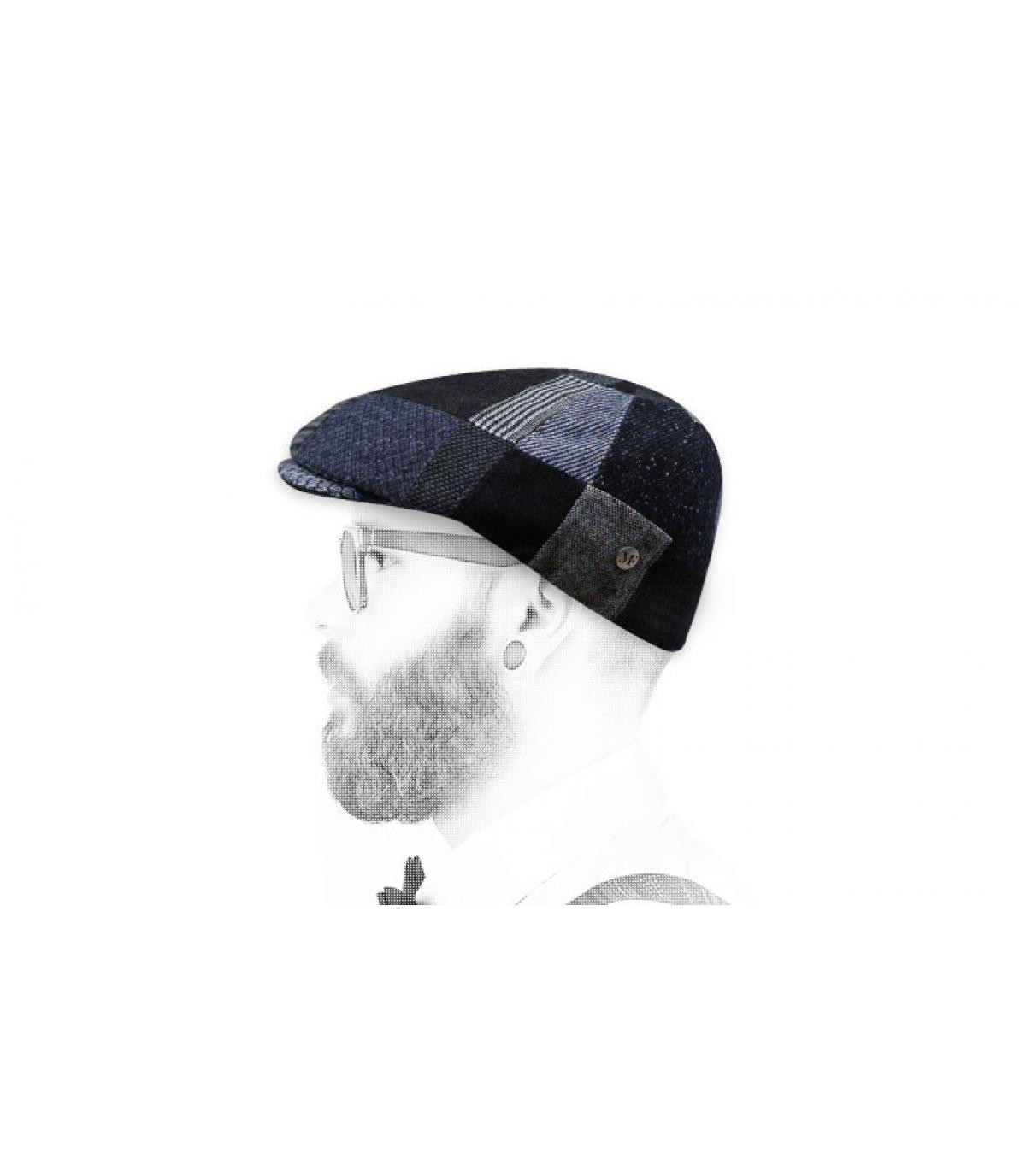 grey patchwork flat cap wool