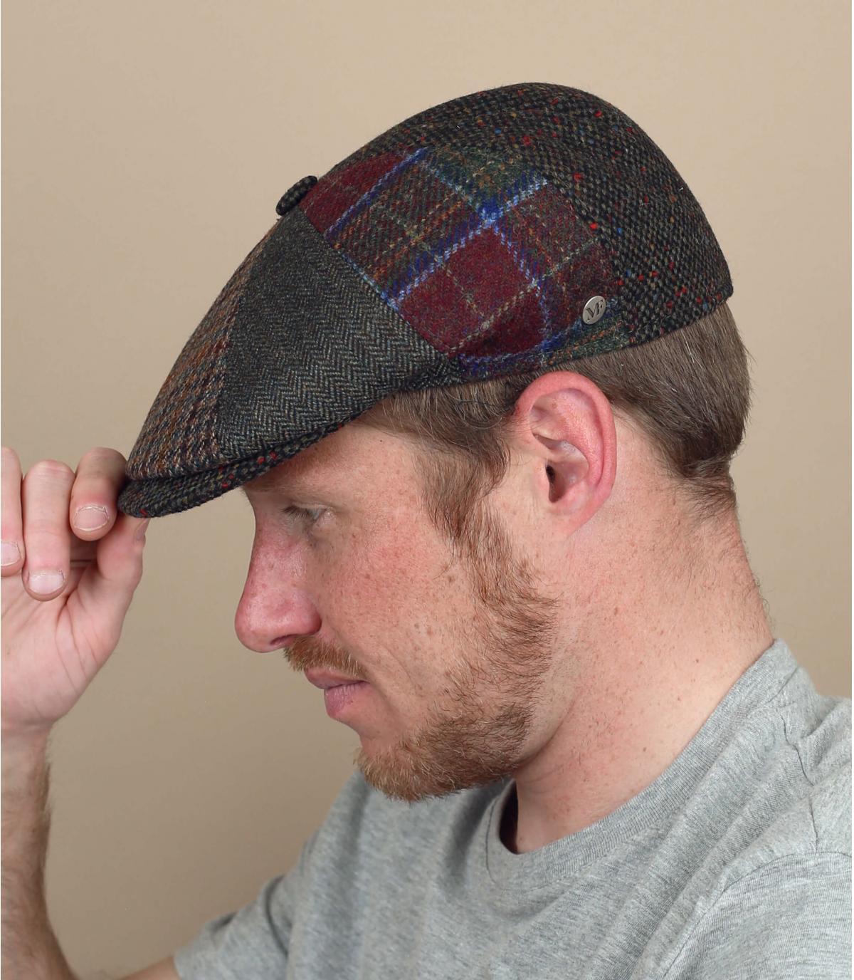 wool patchwork newsboy cap
