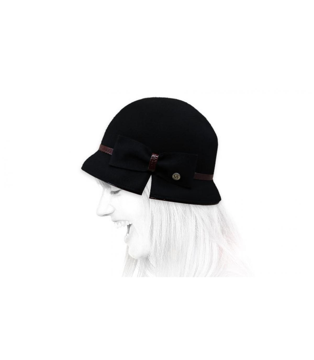 black cloche hat bow
