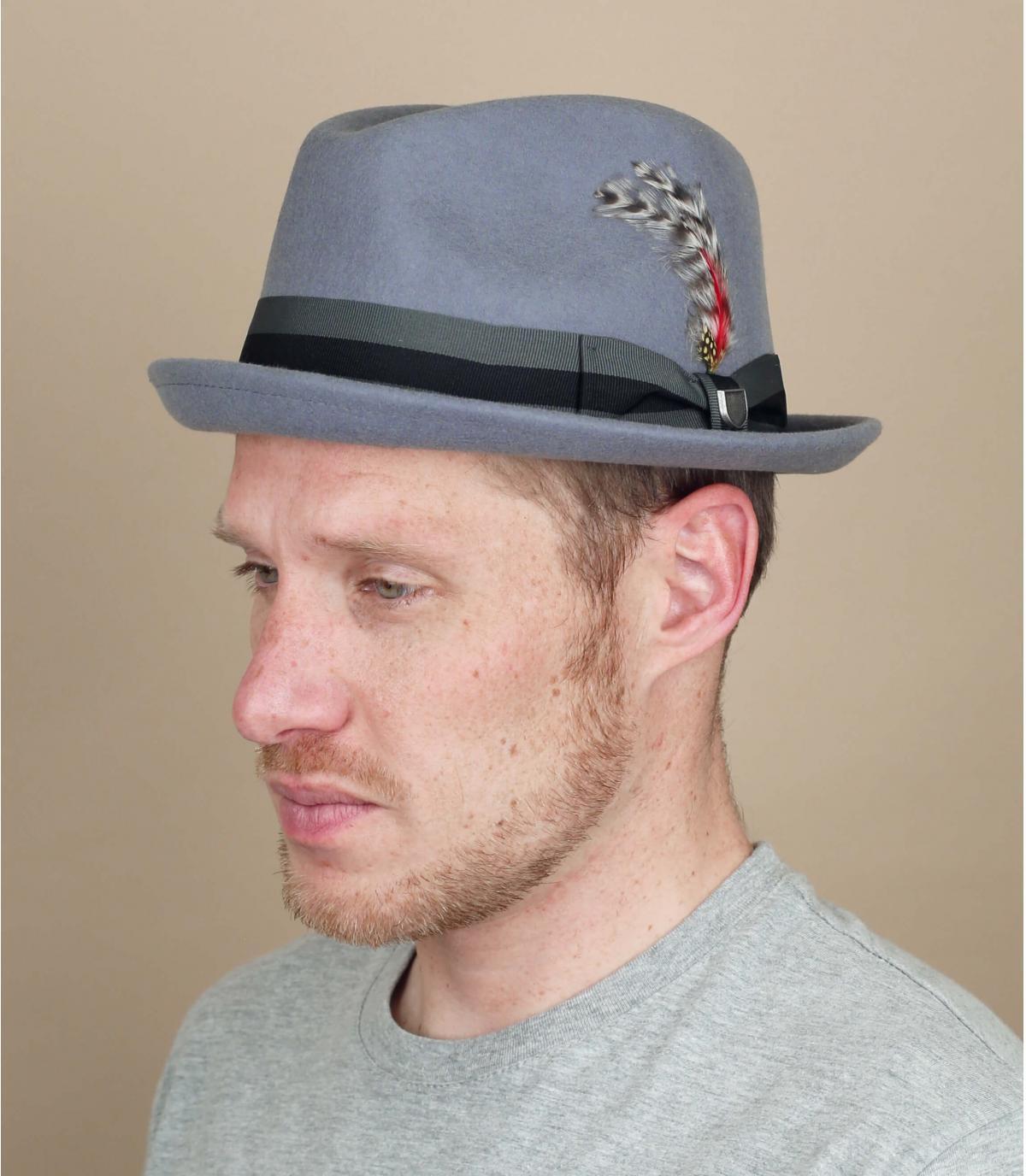 Grey hat feather ribbon