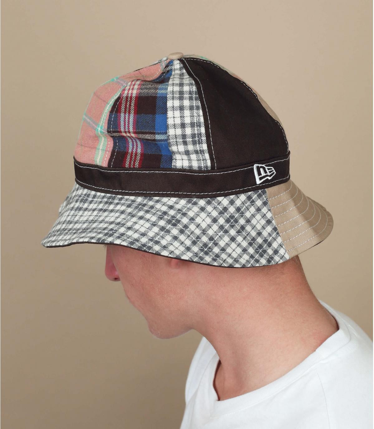 New Era bucket hat brown patchwork