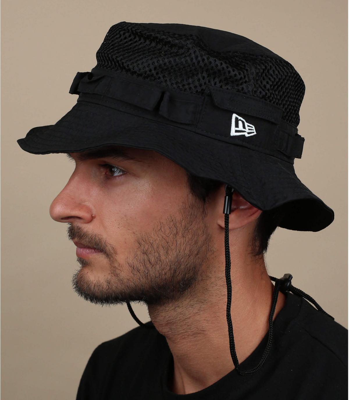 black New Era bucket hat mesh