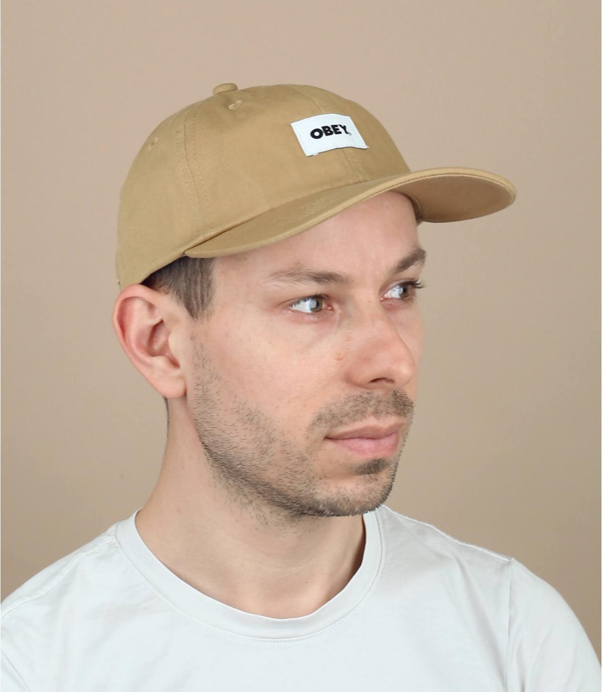 beige Obey cap organic