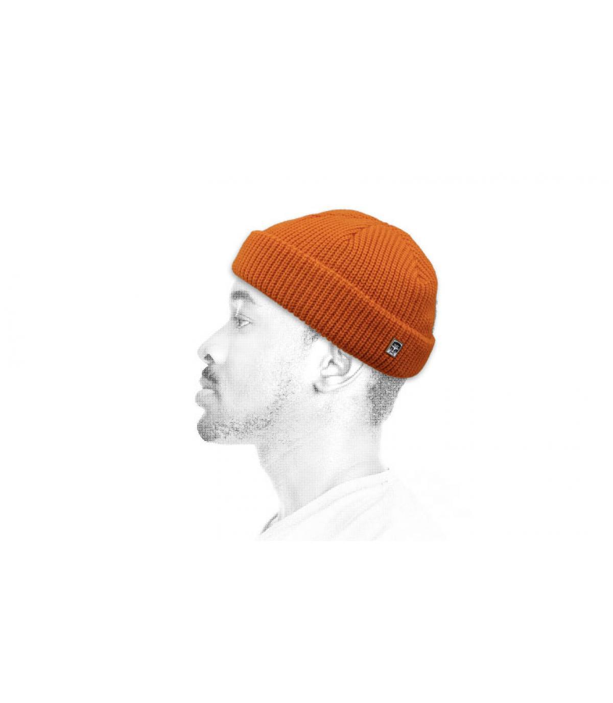 Obey orange docker beanie