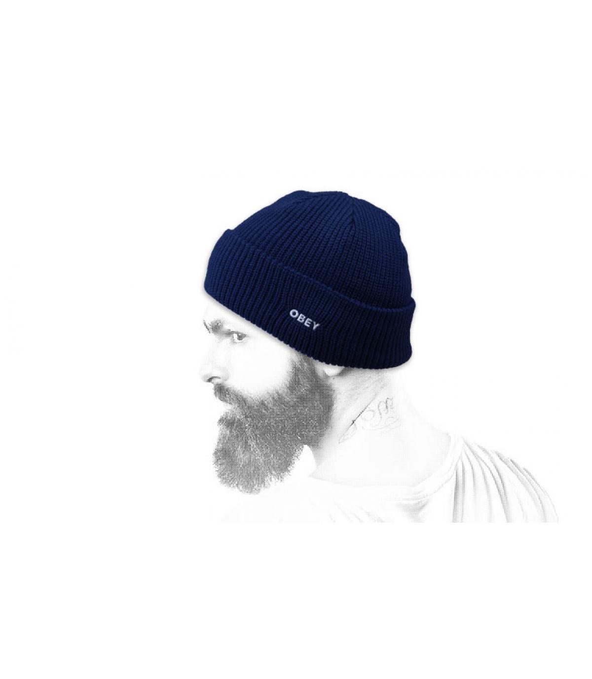 navy blue cuffed beanie Obey
