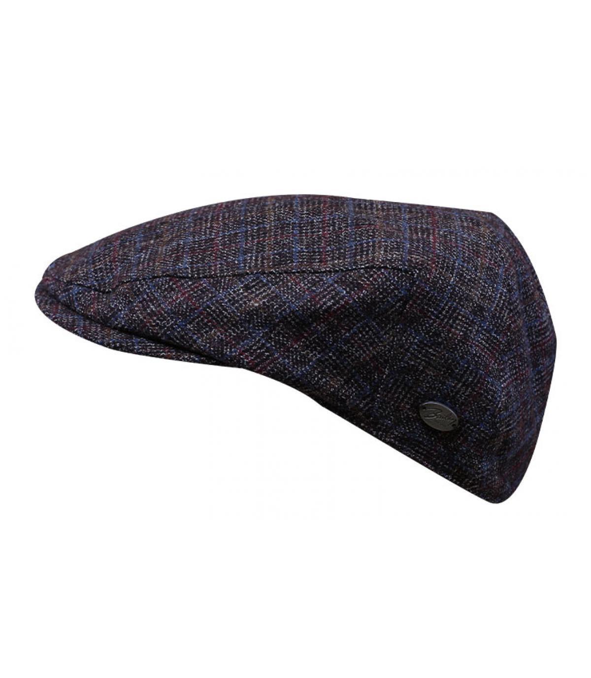 Burgundy checked flat cap