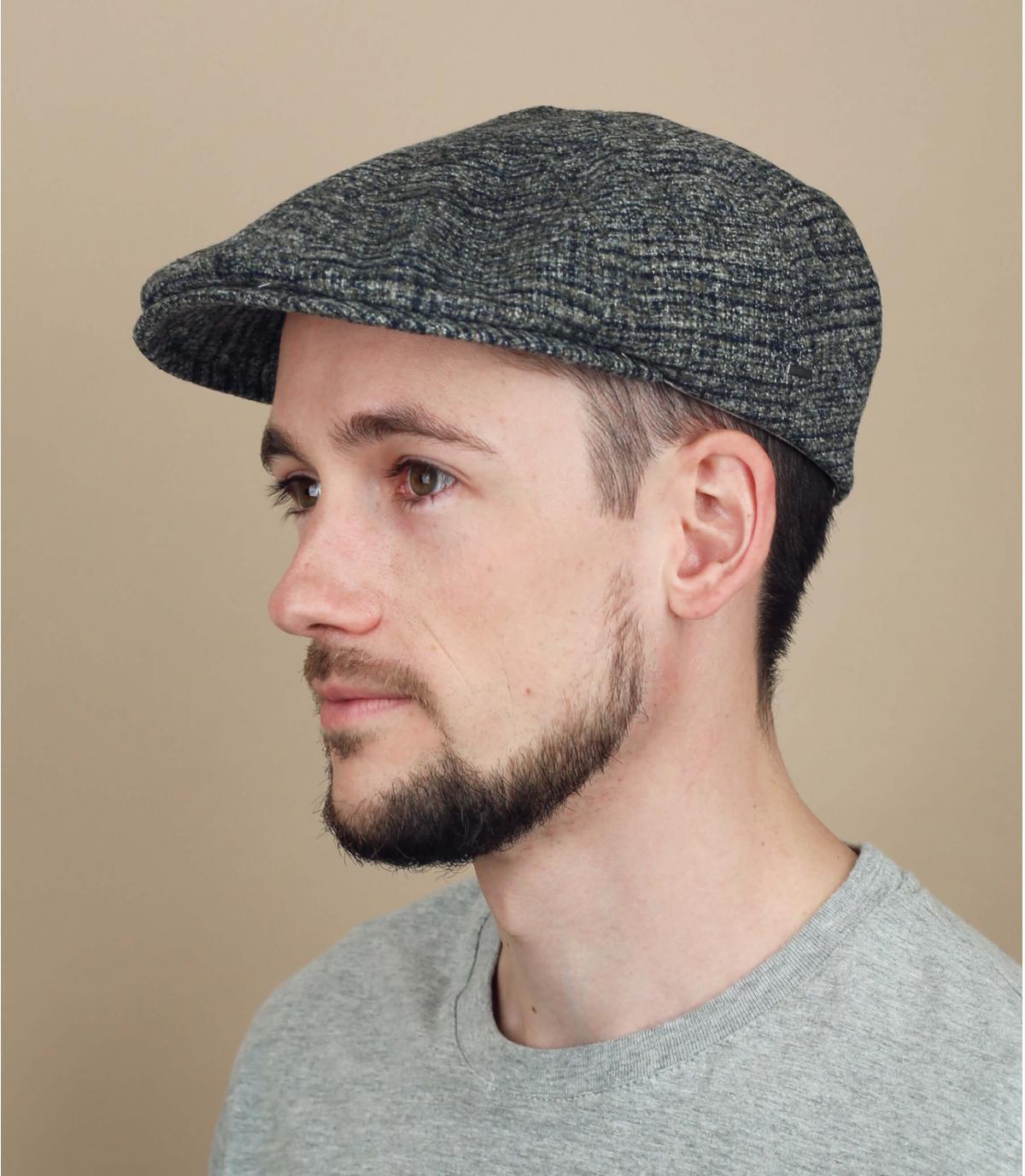 grey checked flat cap wool