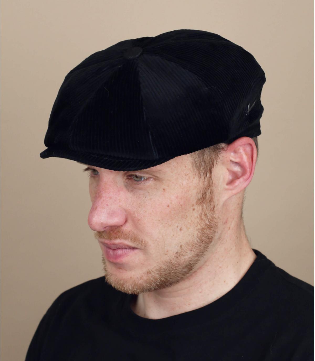 black corduroy newsboy cap