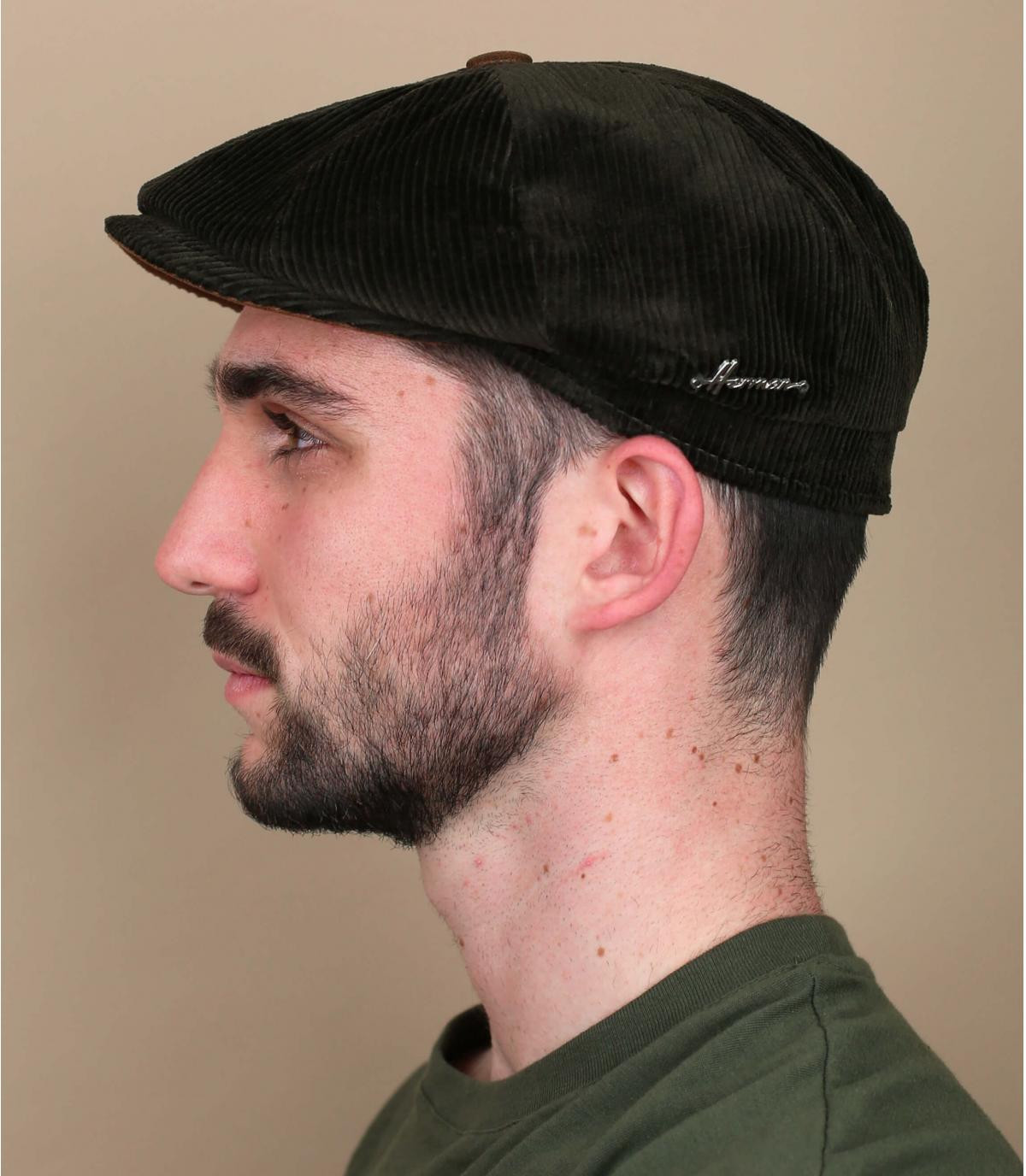 newsboy cap green corduroy