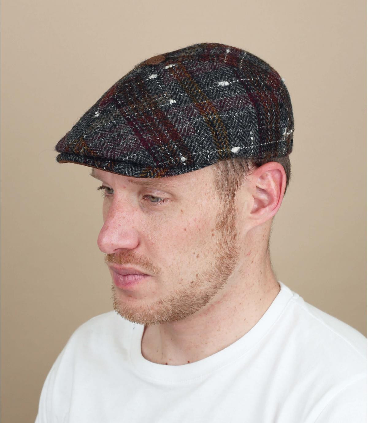 red plaid newsboy cap