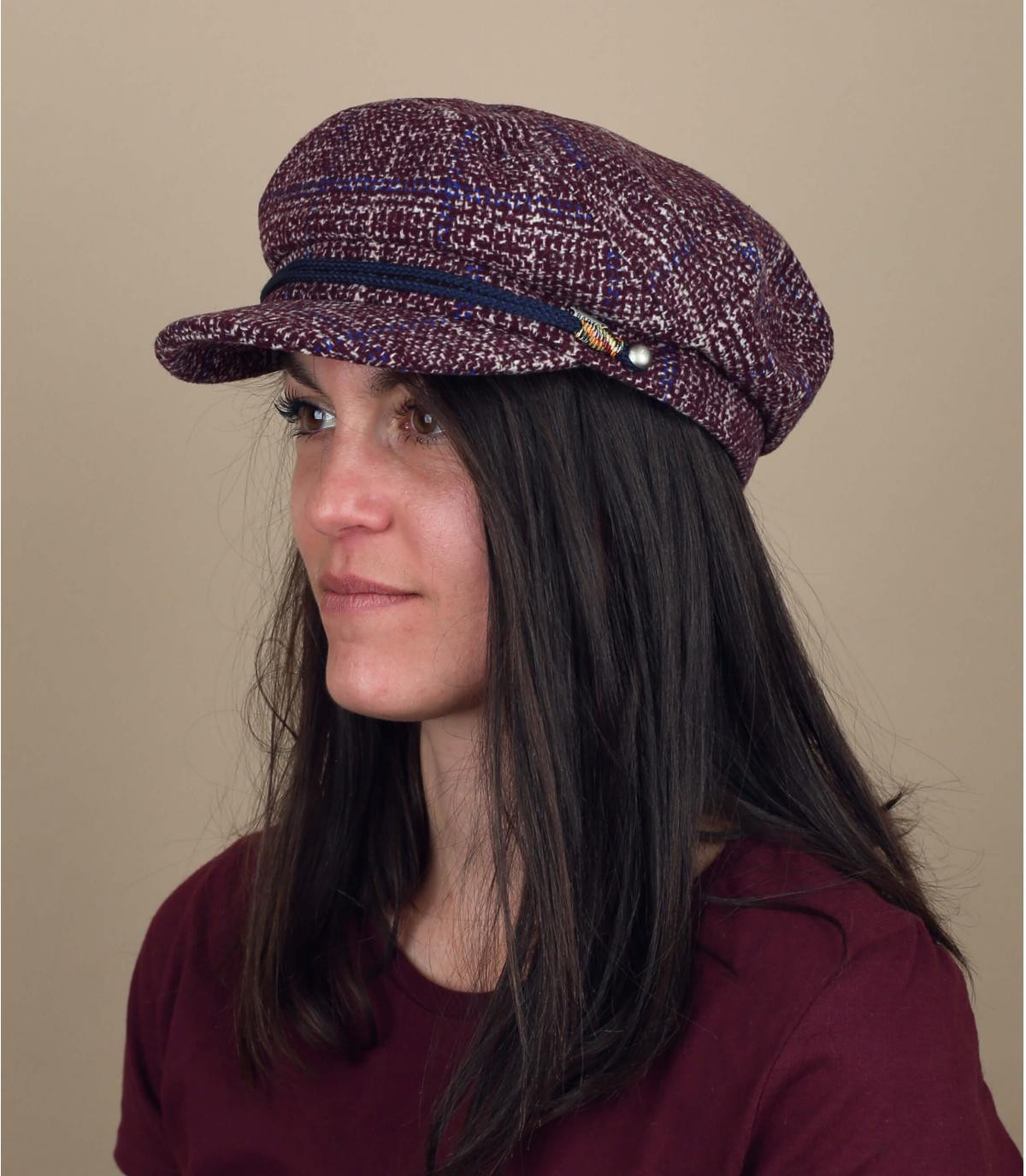 Pink plaid flat cap women
