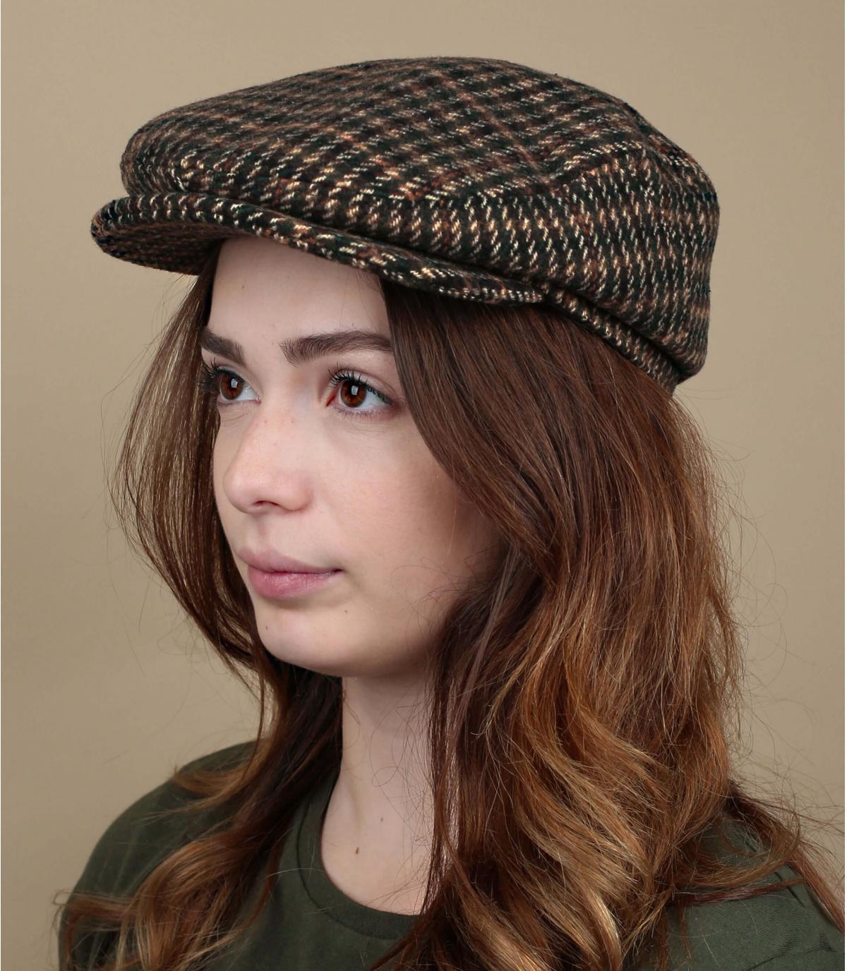 plaid wool flat cap
