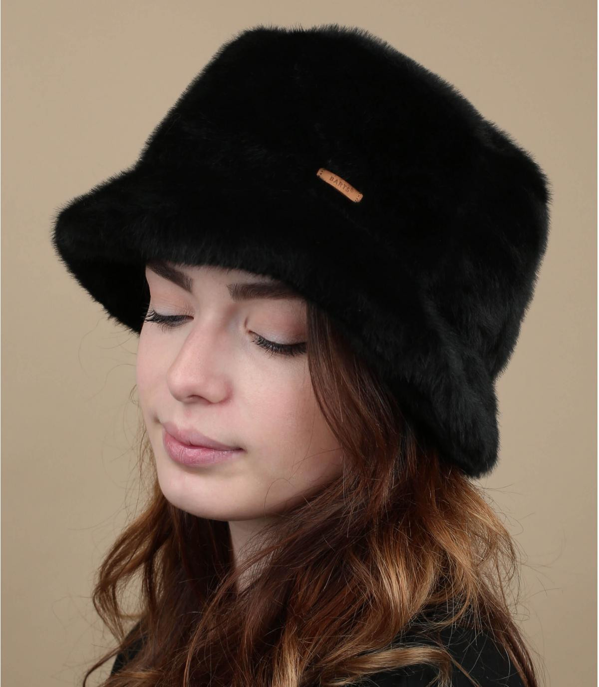 black bucket hat fur