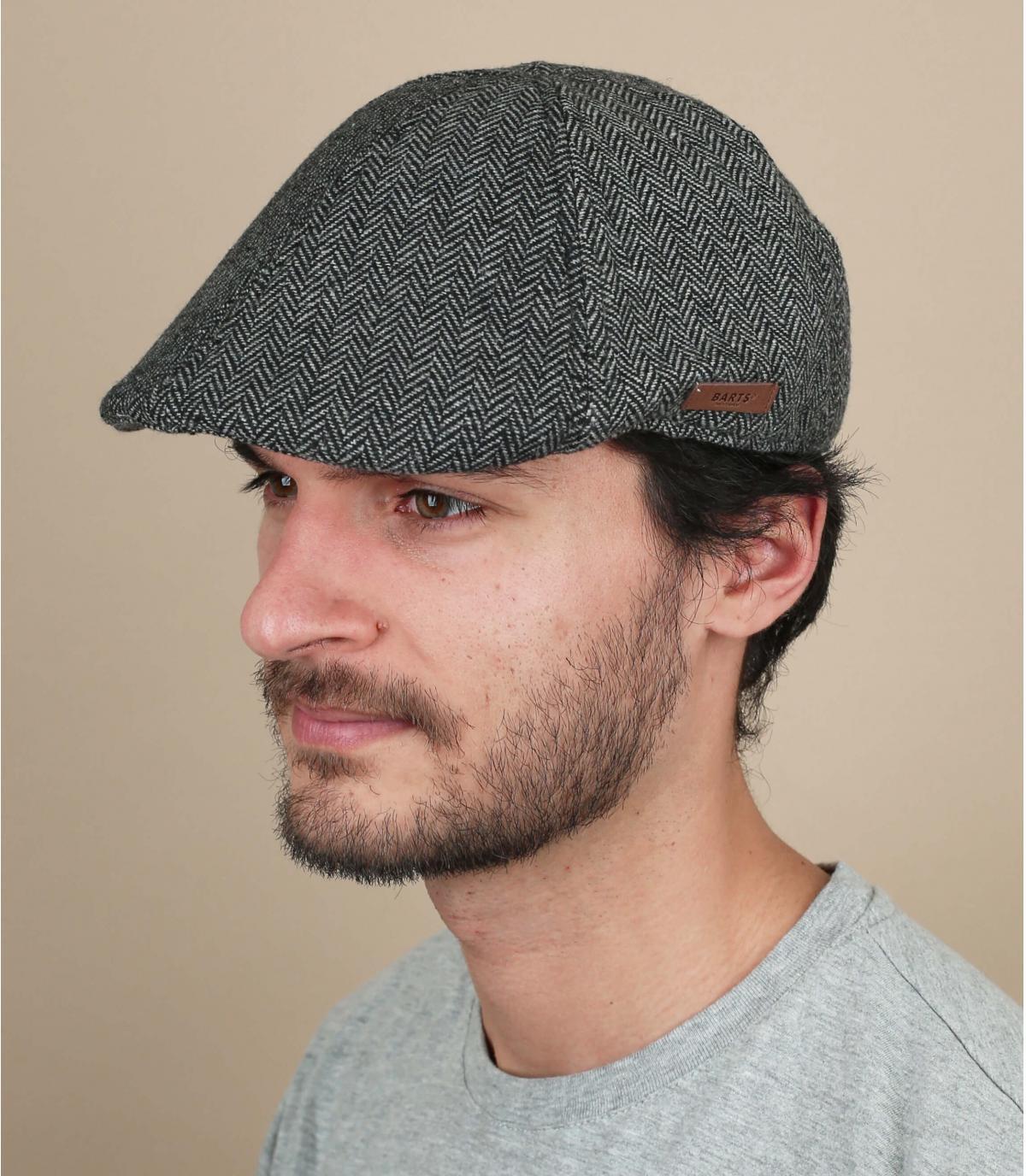 black wool flat cap Barts