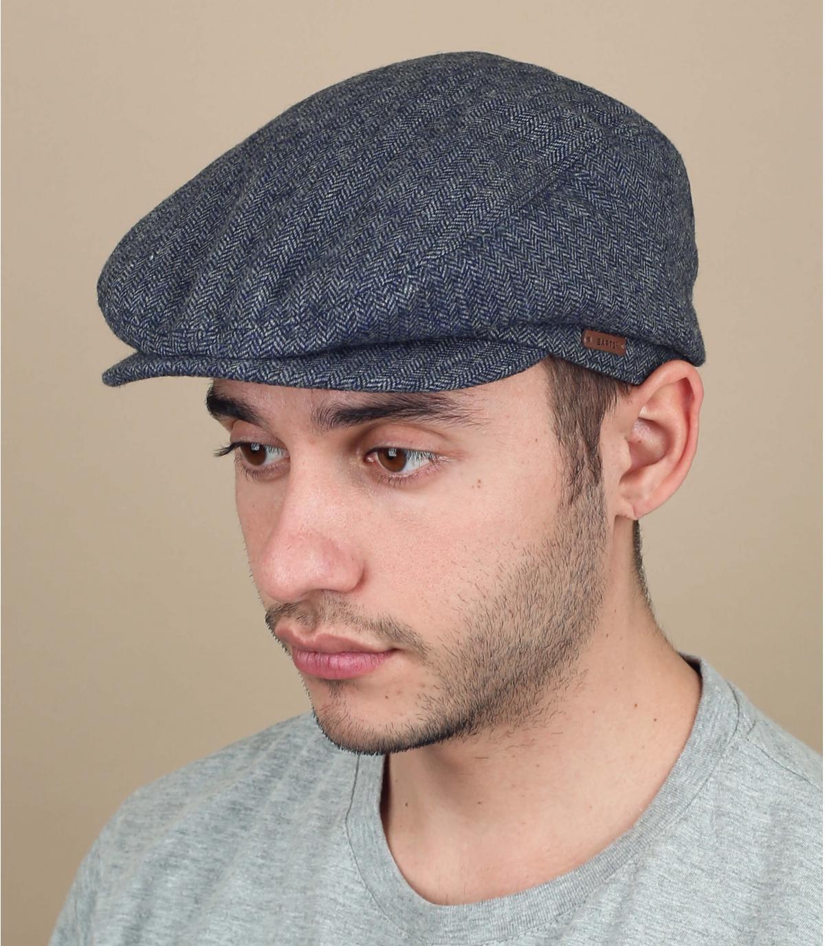 blue wool flat cap Barts