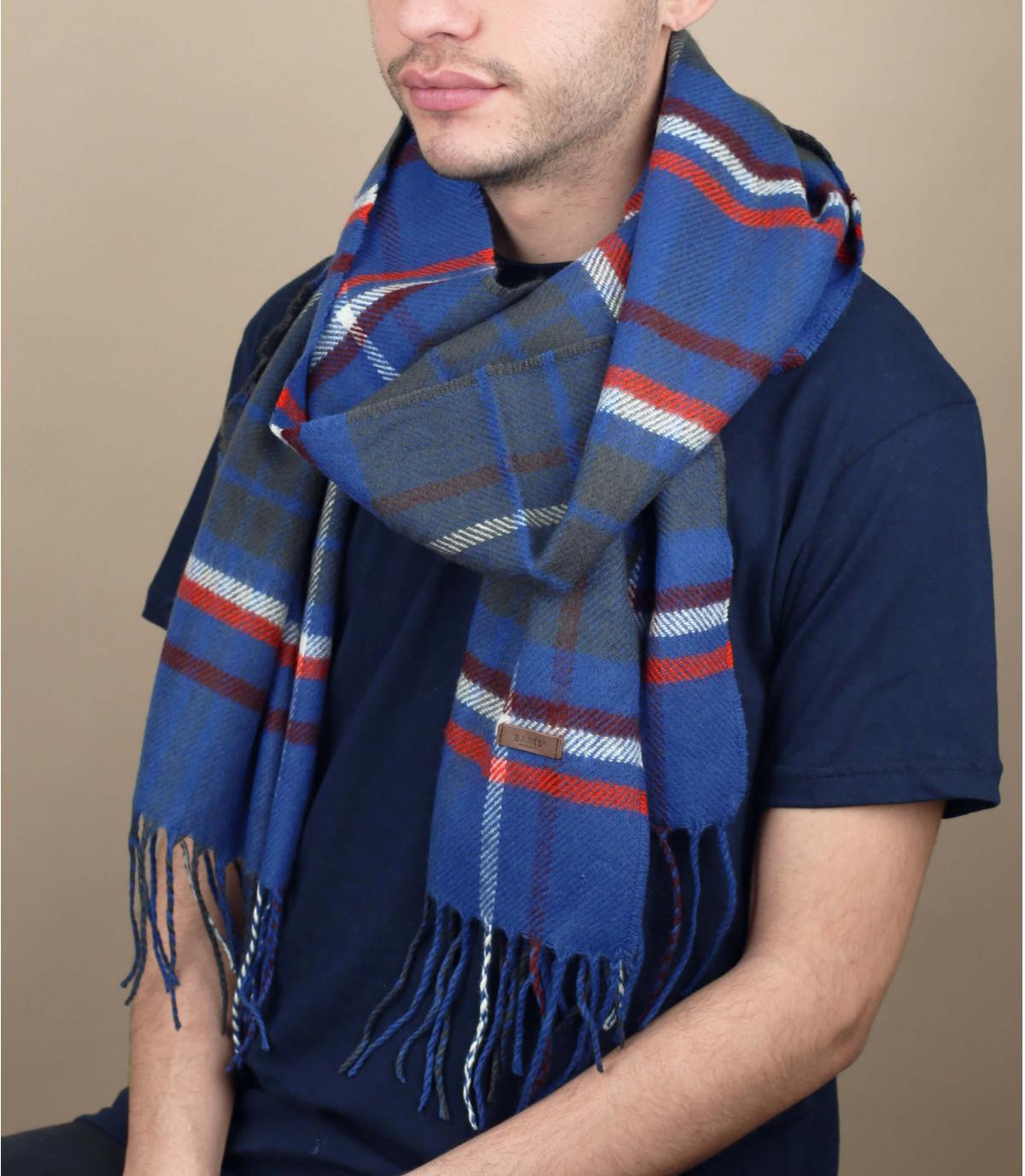 Blue squared scarf fringes