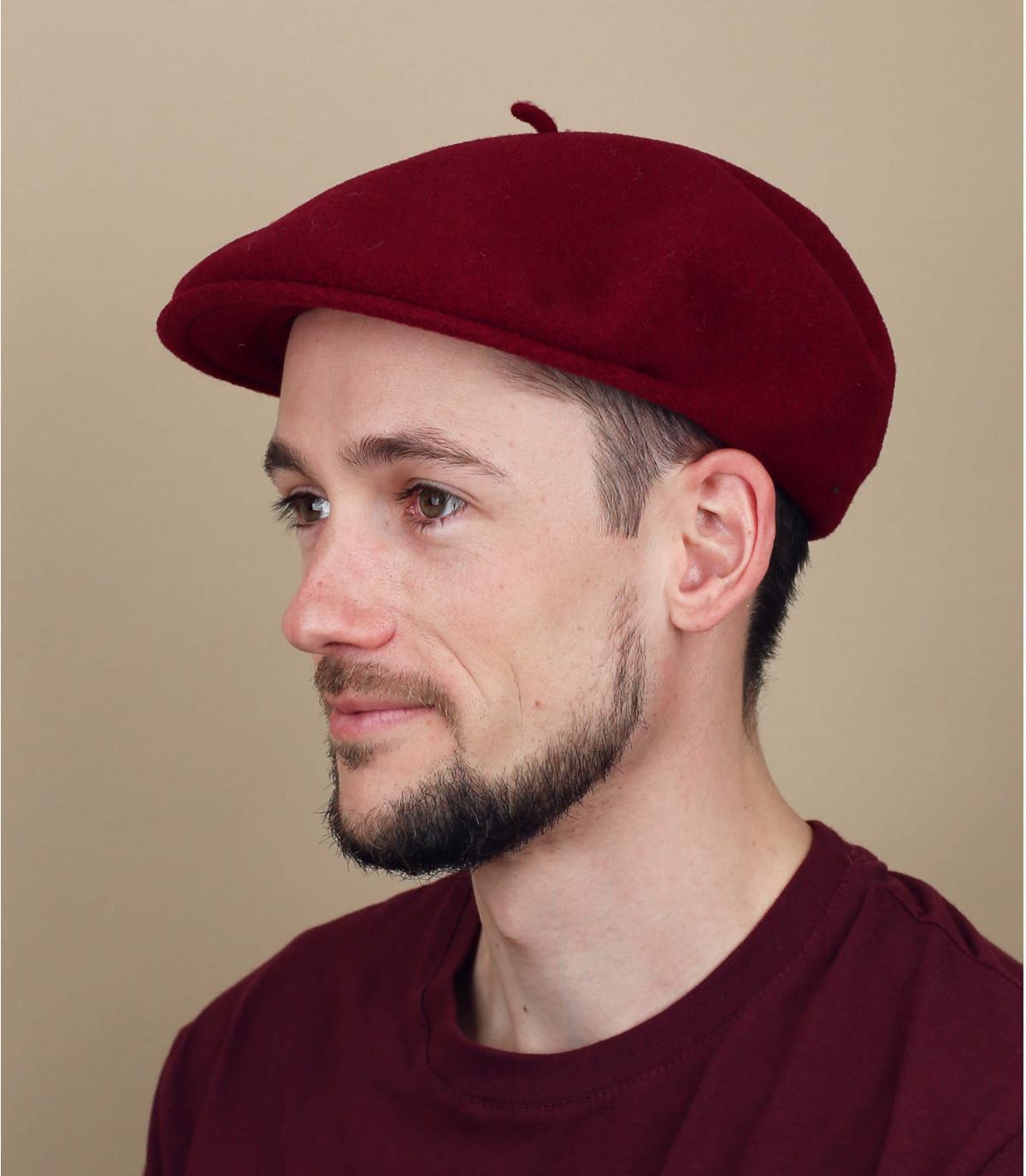 Burgundy merino flat cap