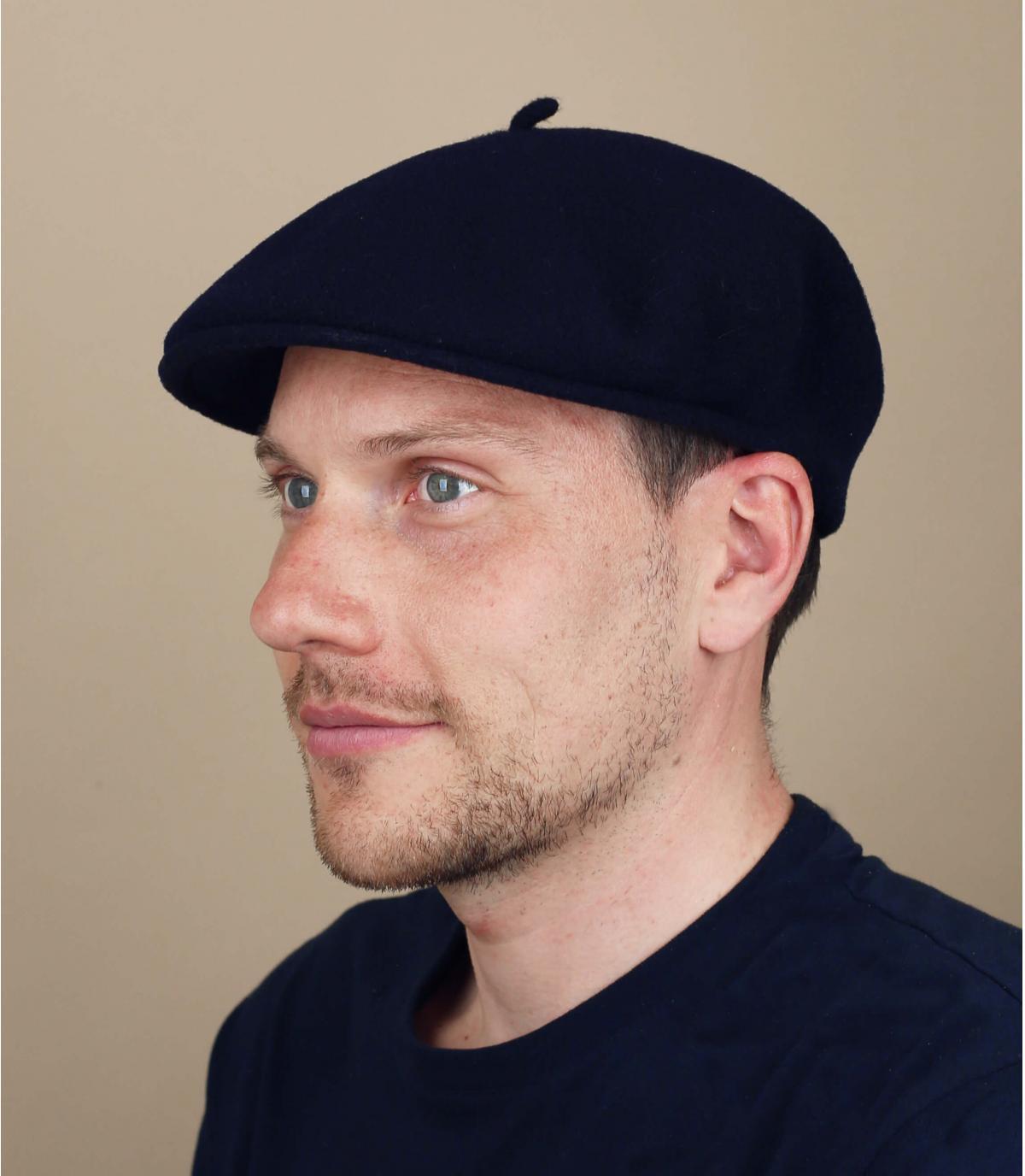 blue merino flat cap