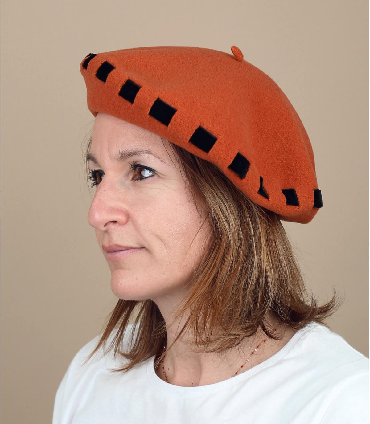 Orange beret bow