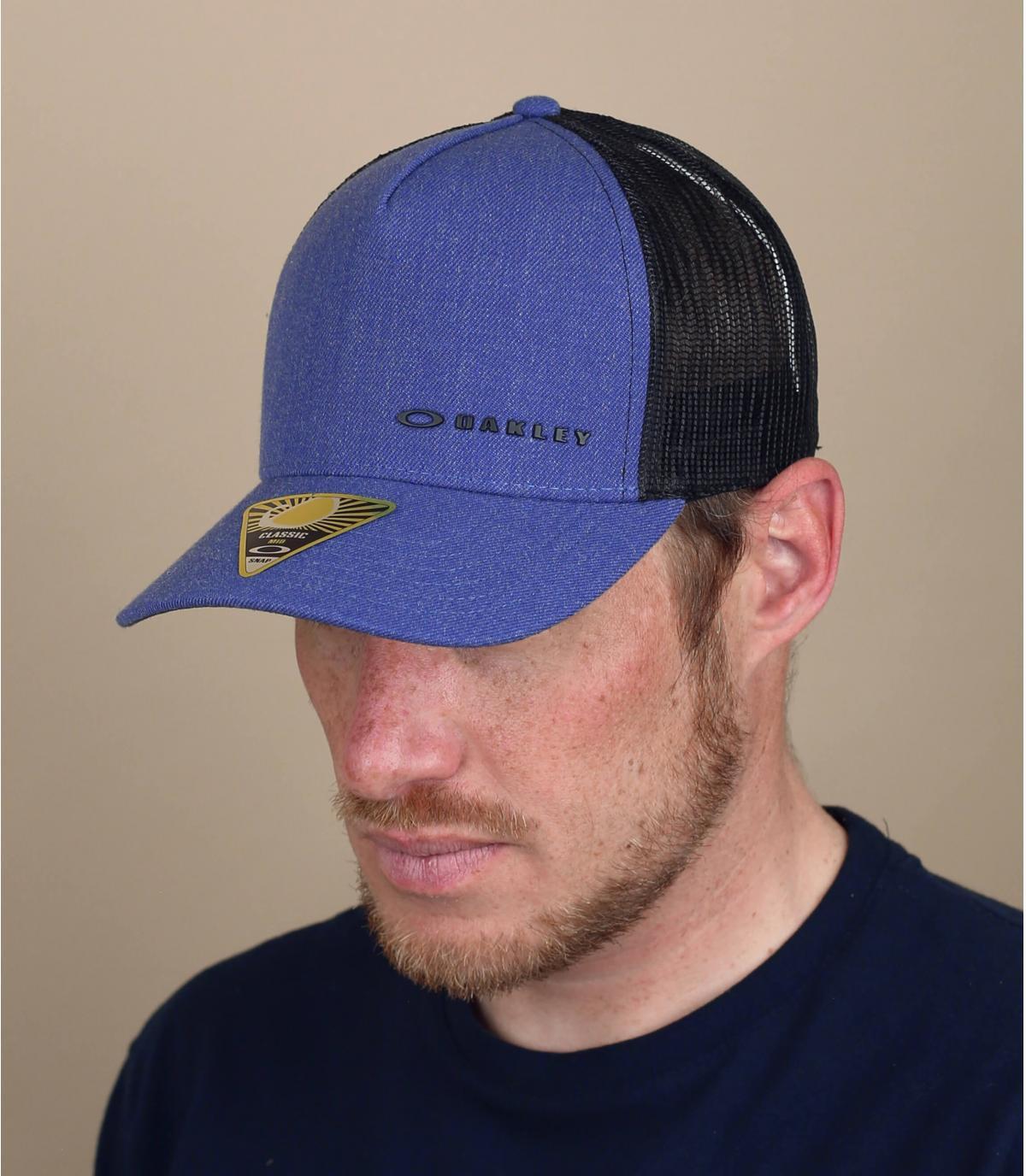 blue Oakley trucker