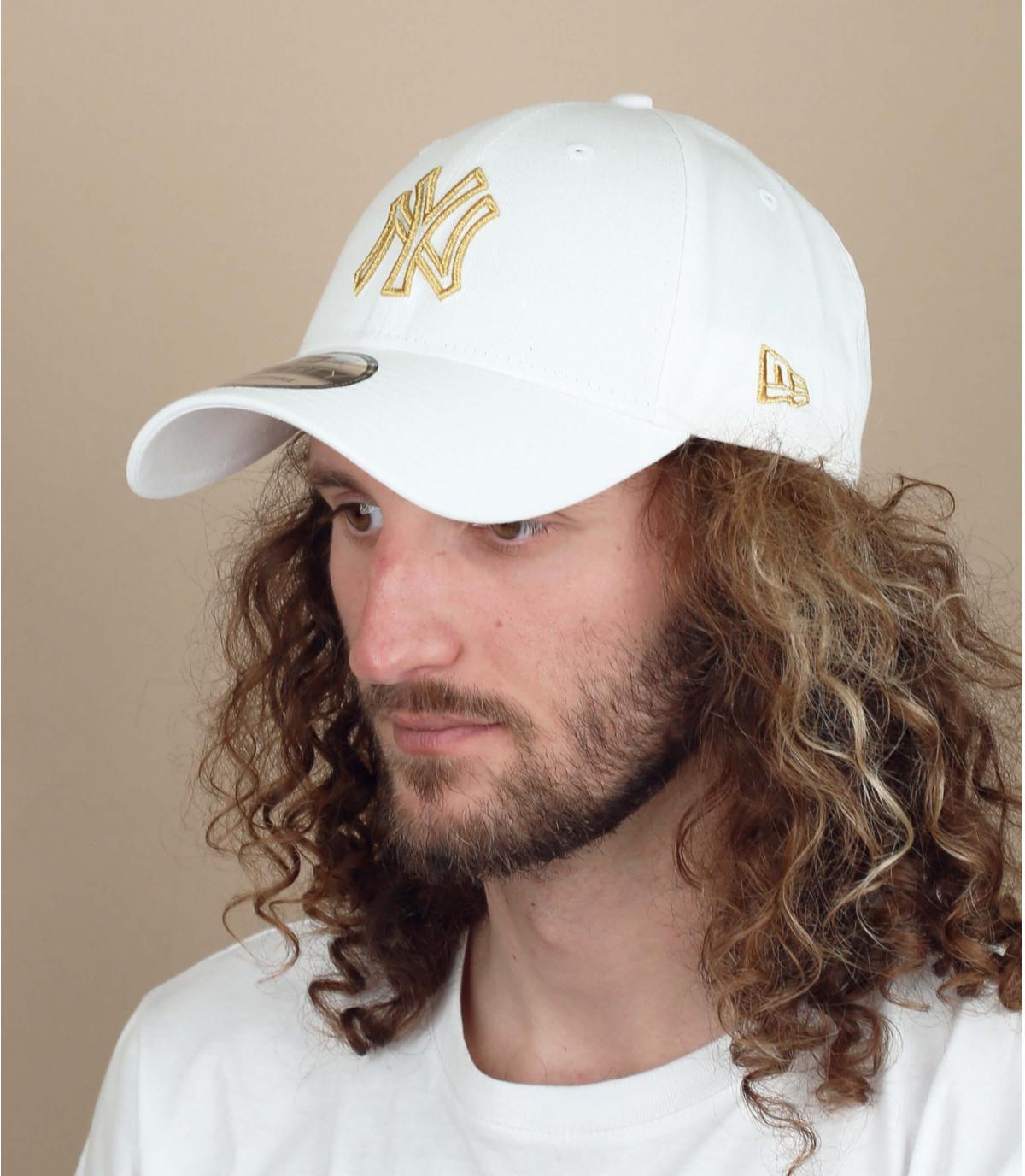 White silver NY cap