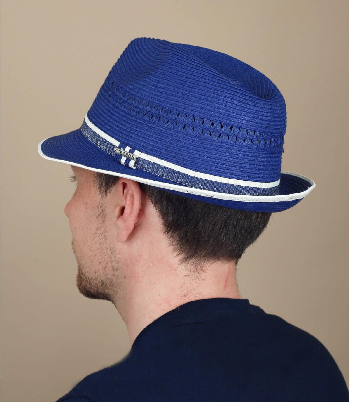 blue straw trilby Stetson