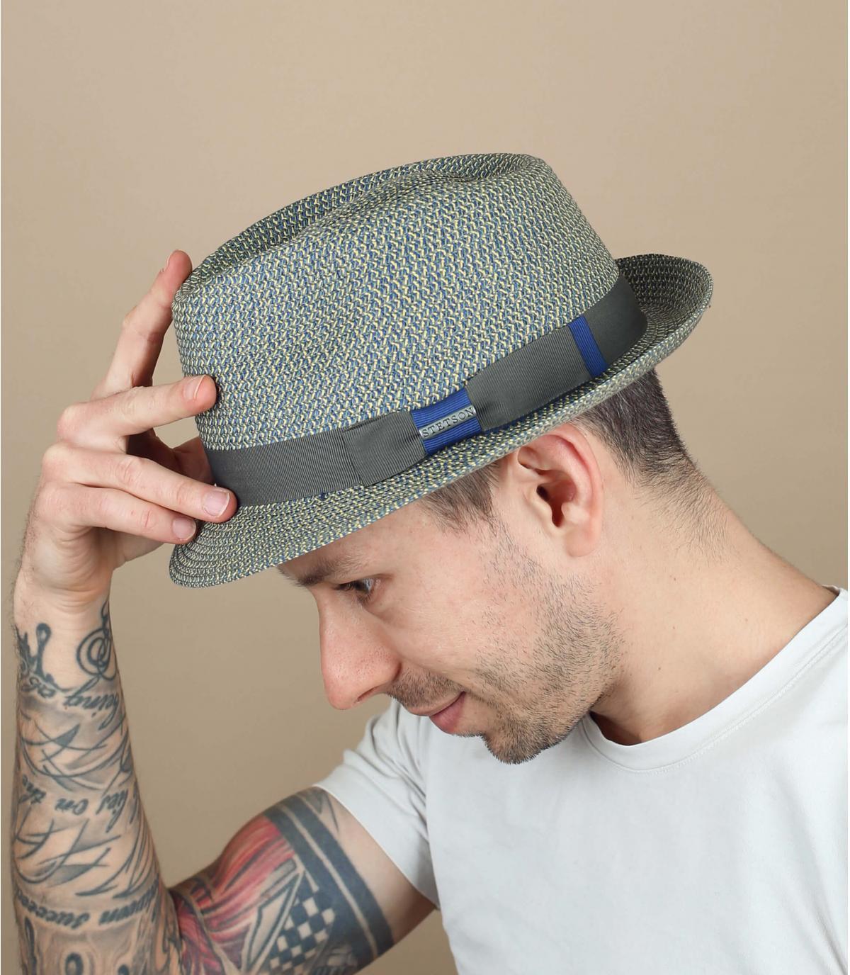 blue-grey Stetson hat