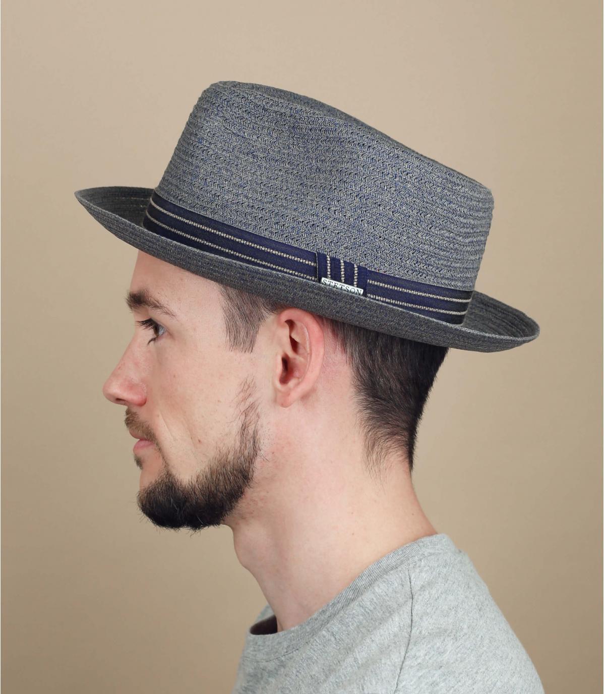 blue-grey straw hat