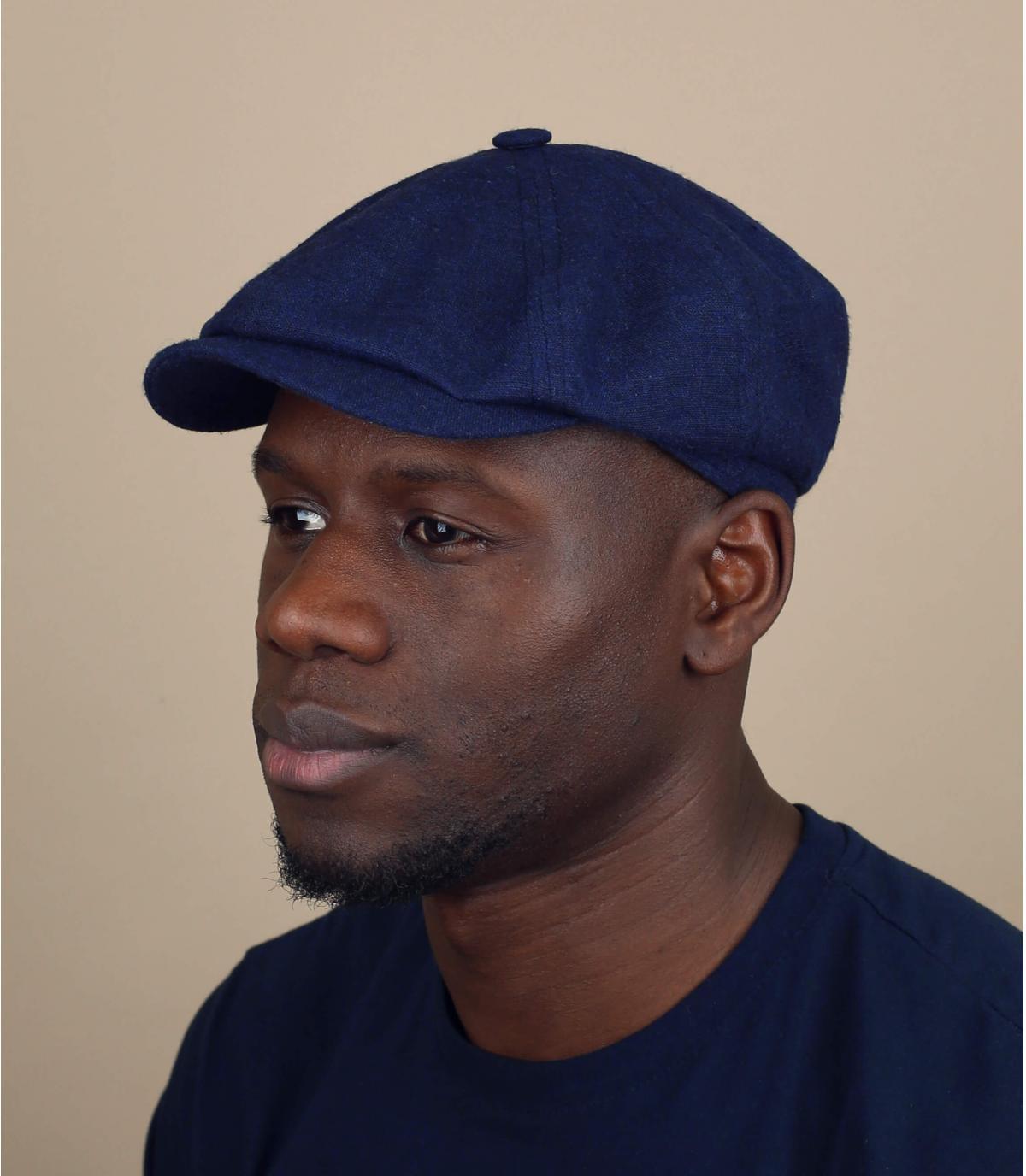 blue linen newsboy cap
