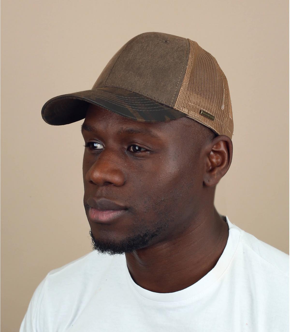 Brown green trucker cap Stetson