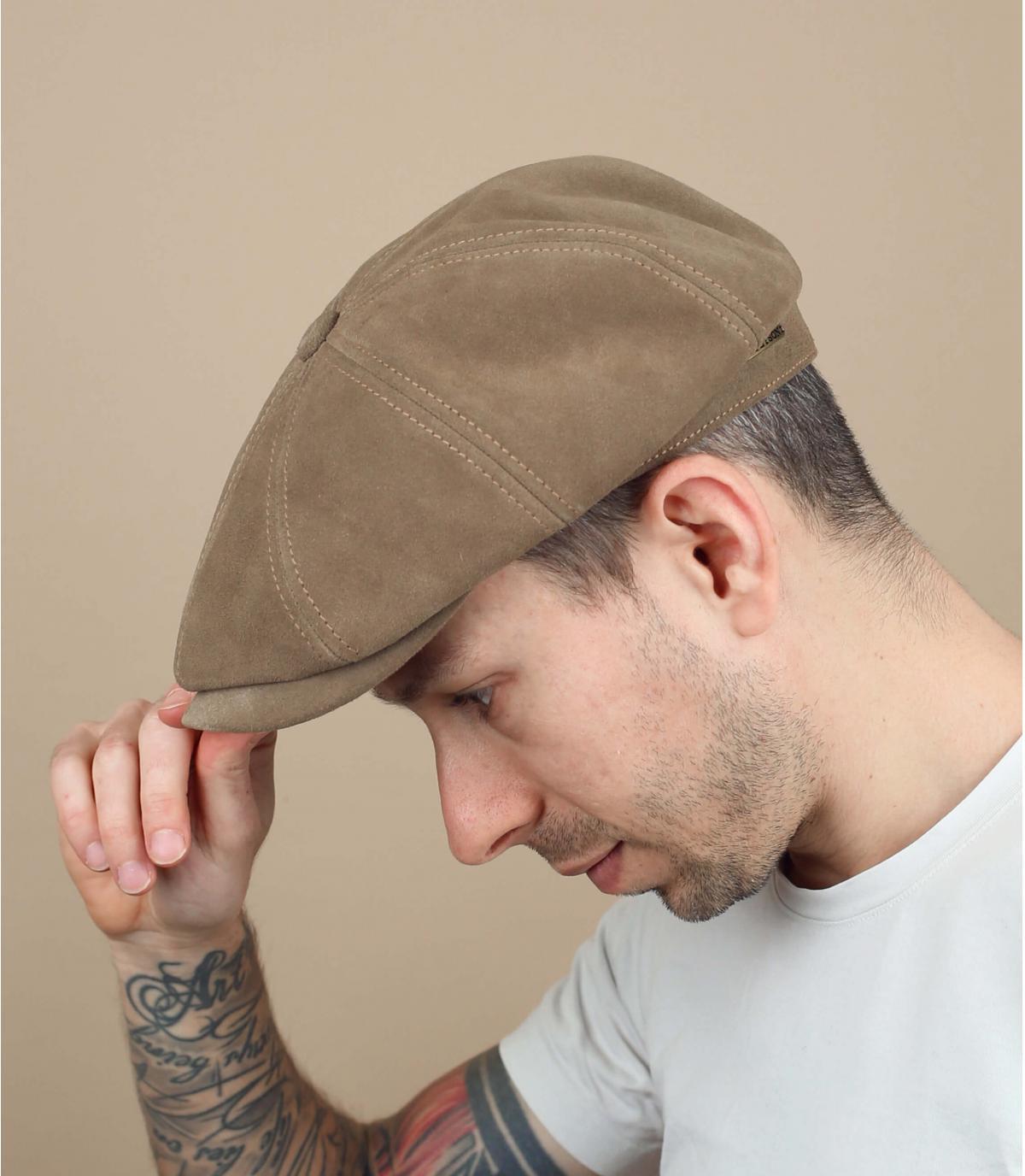 blue newsboy cap leather