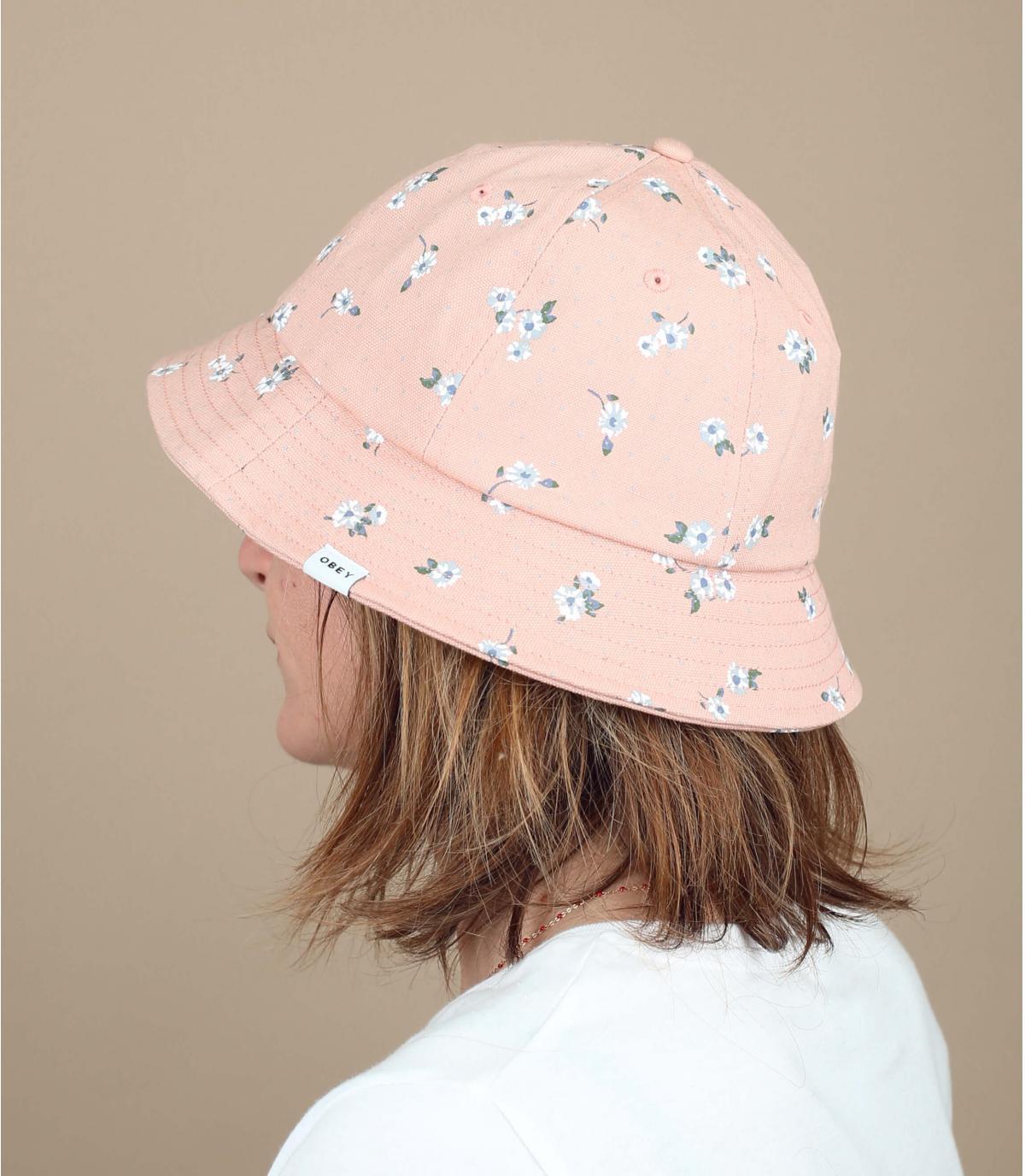 Bucket hat pink flowers Obey