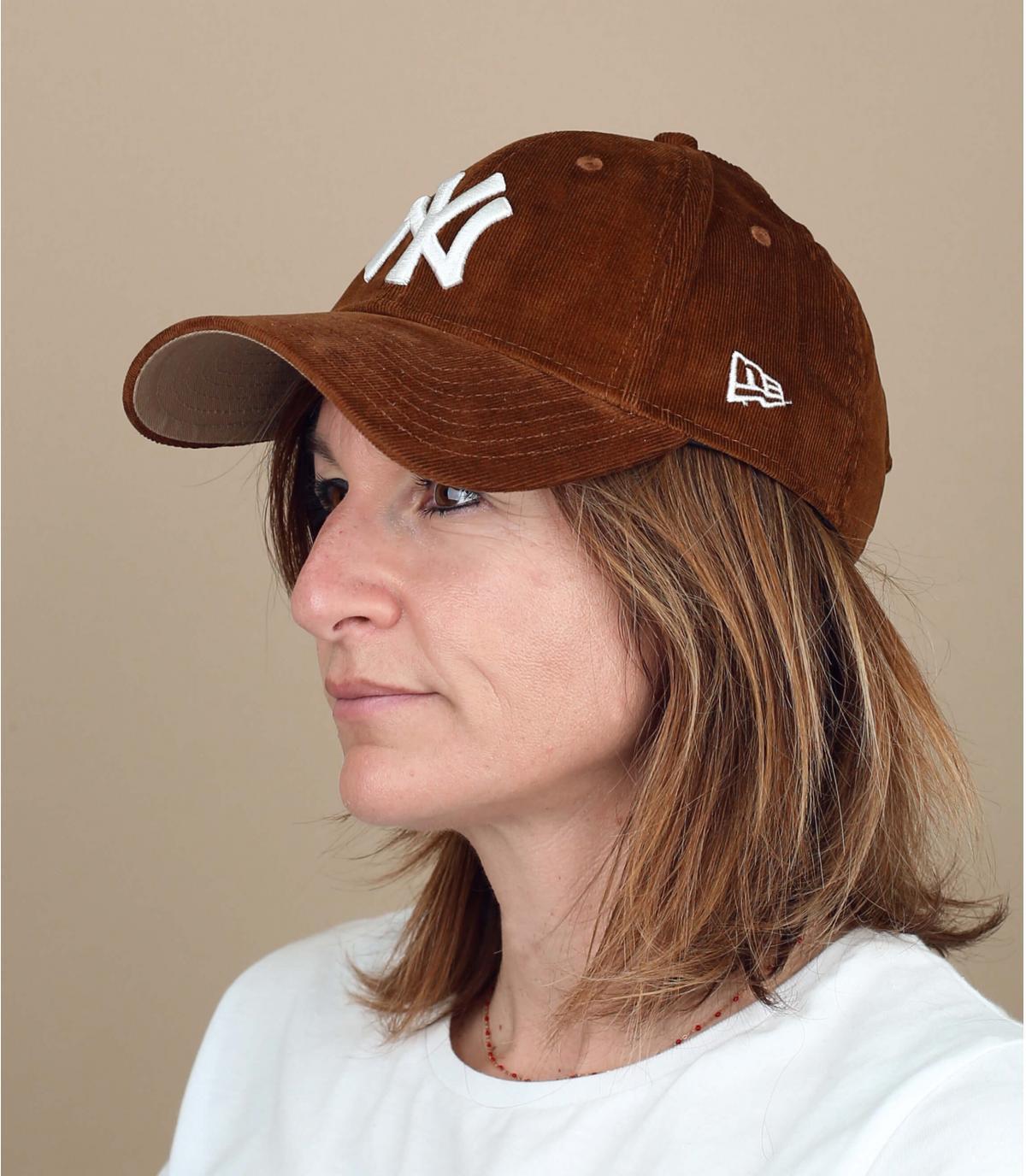 Brown corduroy cap women