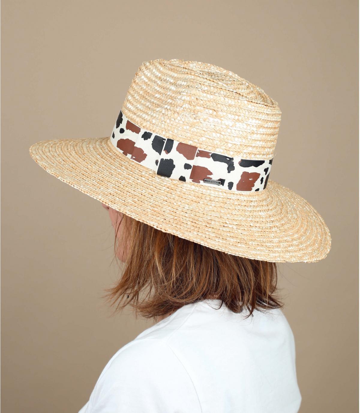 straw hat cow print