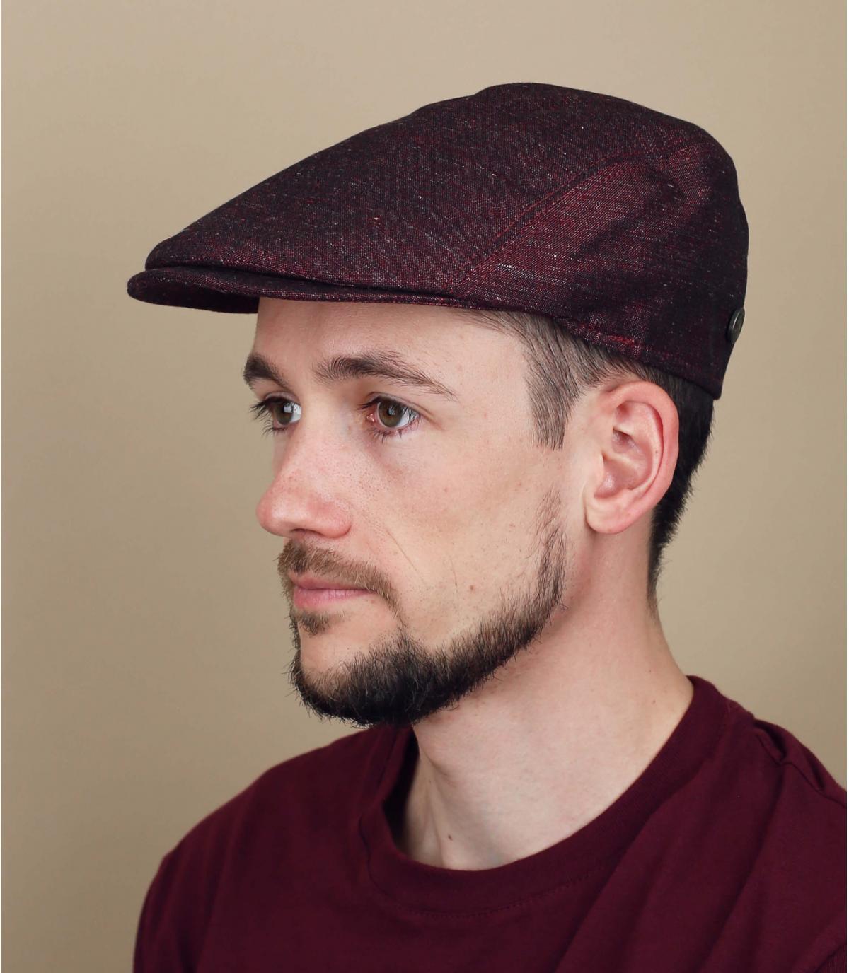 Burgundy linen flat cap