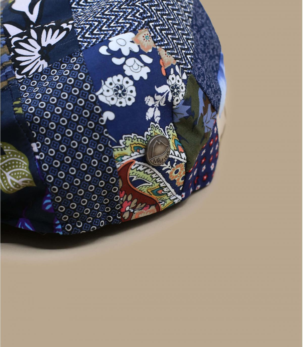 Blue patchwork linen beret