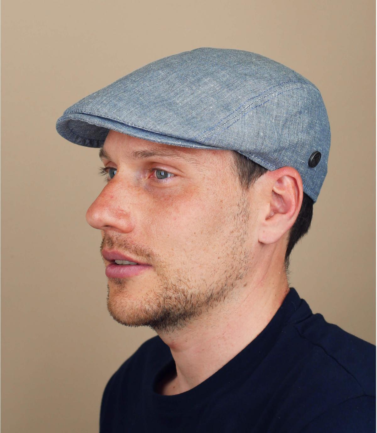 blue linen cap