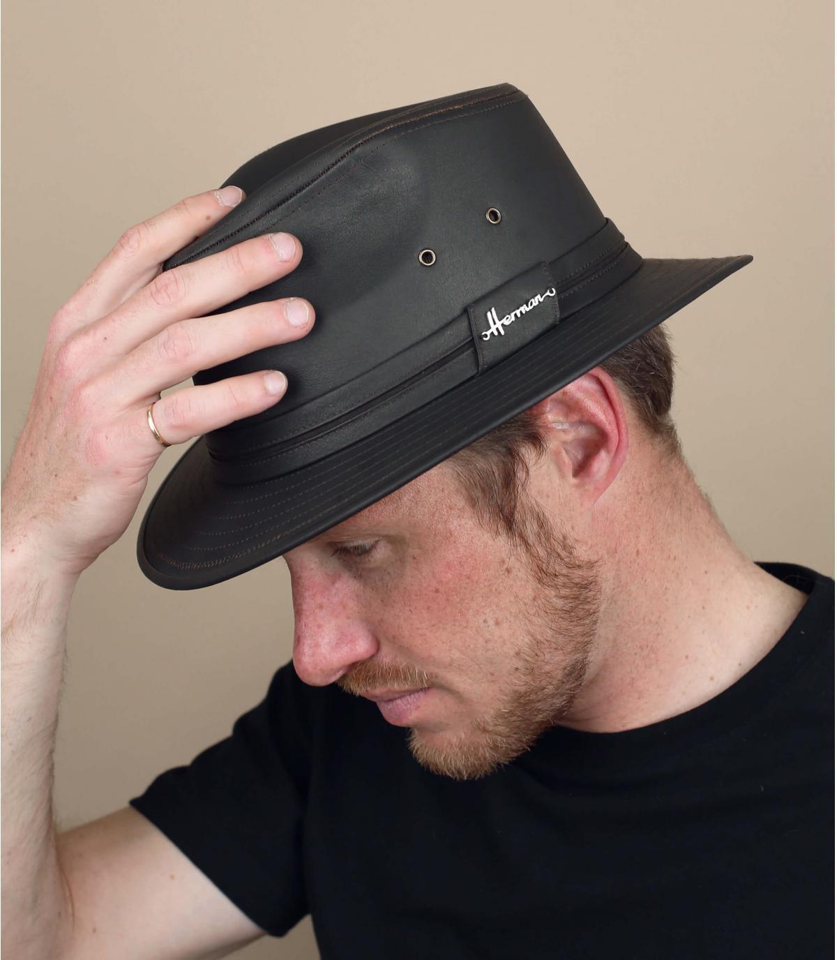 Brown waterproof hat